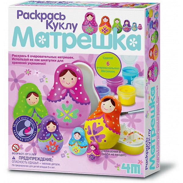 Раскрась куклу МатрешкаНаборы для раскрашивания<br>Набор Раскрась куклу Матрешка непременно придется по душе всем маленьким художницам и познакомит их со старинным русским художественным промыслом - росписью матрешек. В комплекте Вы найдете все необходимое для увлекательного творчества: 6 матрешек-шкатулок, баночки с краской разных цветов, кисть и подробную инструкцию. Предварительно карандашом наметьте эскиз росписи, а затем раскрасьте его красками. Для создания рисунка Вы можете воспользоваться инструкцией или придумать свой наряд для матрешек. Смешивая краски, создавайте новые цвета и оттенки. Готовые матрешки подойдут для хранения украшений и мелочей или станут симпатичным сувениром для друзей и родных. Набор развивает воображение и фантазию, тренирует мелкую моторику.<br><br>Дополнительная информация:<br><br>- В комплекте: 6 матрешек-шкатулок, 6 баночек краски, кисть, детальная инструкция.<br>- Материал: пластик, краски.<br>- Размер упаковки: 18 х 5 х 21,3 см. <br>- Вес: 0,24 кг.<br><br>Раскрась куклу Матрешка, 4М, можно купить в нашем интернет-магазине.<br><br>Ширина мм: 213<br>Глубина мм: 180<br>Высота мм: 50<br>Вес г: 250<br>Возраст от месяцев: 96<br>Возраст до месяцев: 144<br>Пол: Женский<br>Возраст: Детский<br>SKU: 4689223