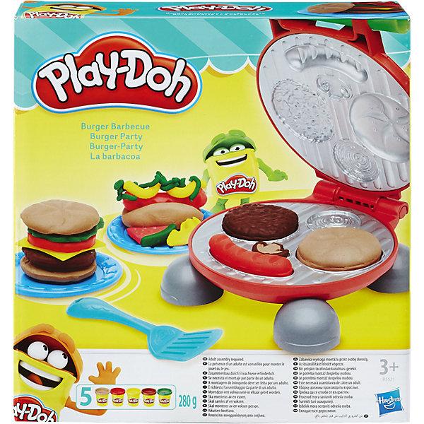 Игровой набор Бургер гриль, Play-DohНаборы для лепки<br>Делай вкусные Play-doh бургеры и хот-доги!<br>Ширина мм: 218; Глубина мм: 203; Высота мм: 62; Вес г: 612; Возраст от месяцев: 36; Возраст до месяцев: 72; Пол: Унисекс; Возраст: Детский; SKU: 4691463;