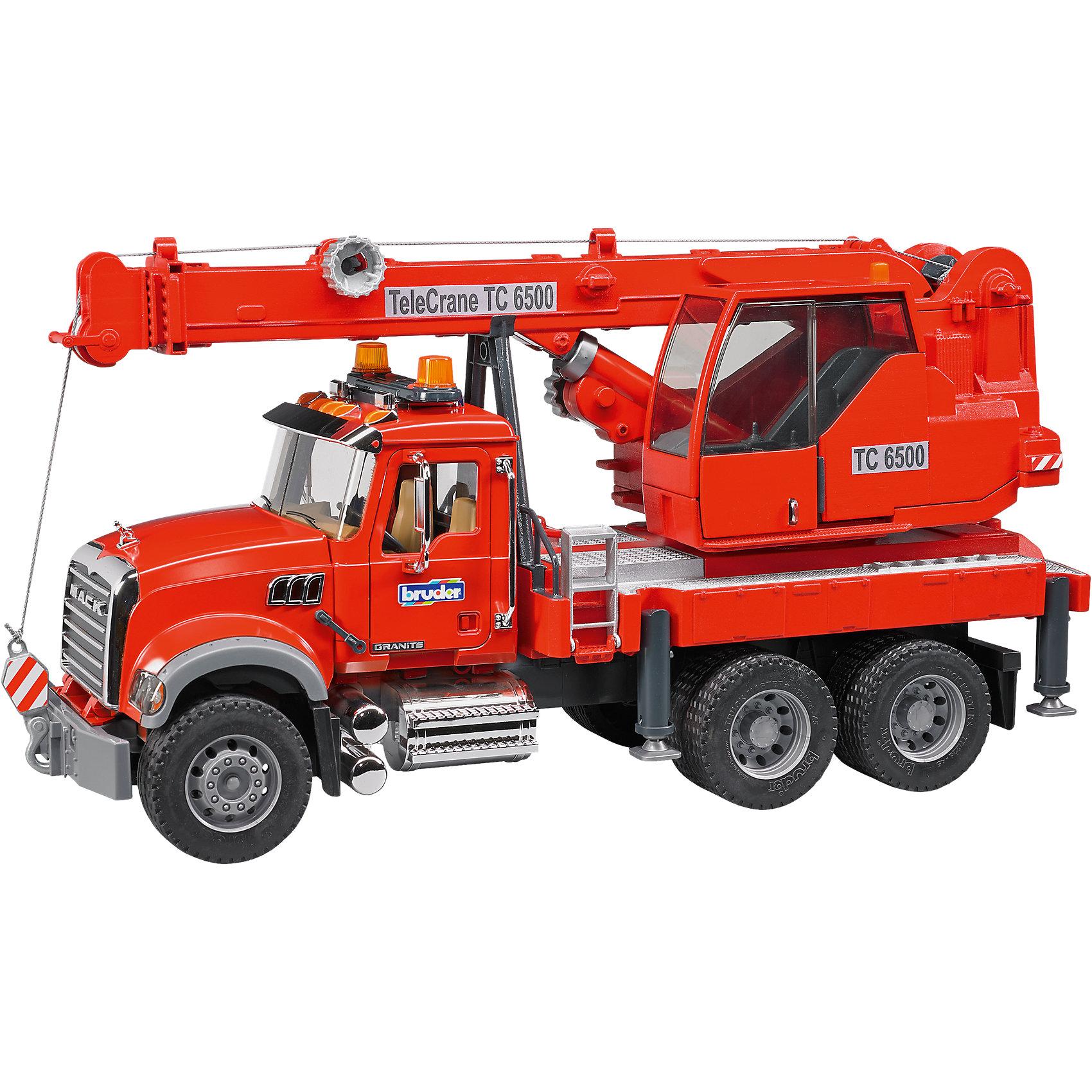 Автокран Mack с модулем со световыми и звуковыми эффектами, красный, BruderБольшой транспорт от 50 см<br>Автокран Mack с модулем со световыми и звуковыми эффектами, красный, Bruder.<br><br>Характеристики:<br><br>- Масштаб 1:16<br>- Материал: пластик<br>- Размер автокрана: 53,5x18,5x28 см..<br>- Батарейки: 3 x C / LR14 1.5V (входят в комплект)<br><br>Автокран Mack - это качественная детализированная игрушка с подвижными элементами. Автокран немецкого производителя игрушек Bruder (Брудер) в точности повторяет реально существующую машину. Все детали игрушки выполнены с максимальной точностью и подробной детализацией. Стрела крана оснащена лебедкой с крюком и может двигаться. Конструкция стрелы крана поршневая, тип управления механический. Кабина крановщика поворачивается. Для устойчивости автокрана предусмотрены четыре стойки, находящиеся с боков платформы. Стекла кабины выполнены из прозрачного тонкого пластика. Двери кабины открываются, внутрь можно поместить фигурку. Прорезиненные колеса с рельефными протекторами выглядят очень правдоподобно. Функциональный автомобиль оснащен модулем со световыми и звуковыми эффектами, который расположен на крыше кабины водителя. Модуль работает в 2 режимах: свет, свет и звук (имитирует звук двигателя). Игрушка изготовлена из высококачественного пластика, устойчивого к износу и ударам. Продукция сертифицирована, экологически безопасна для ребенка, использованные красители не токсичны и гипоаллергенны.<br><br>Автокран Mack с модулем со световыми и звуковыми эффектами, красный, Bruder можно купить в нашем интернет-магазине.<br><br>Ширина мм: 613<br>Глубина мм: 309<br>Высота мм: 223<br>Вес г: 3025<br>Возраст от месяцев: 36<br>Возраст до месяцев: 72<br>Пол: Мужской<br>Возраст: Детский<br>SKU: 4693804
