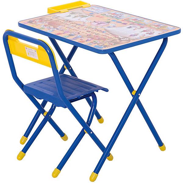 Набор детской складной мебели Веселые гномы, Дэми, синийДетские столы и стулья<br>Каждый ребенок нуждается в удобной, специальной мебели, чтобы его организм мог развиваться правильно. Такая мебель может быть еще и яркой, а также выполнять обучающую функцию.<br>Набор детской складной мебели Веселые гномы - это универсальный комплект необходимых предметов для малыша. Он состоит из стула и стола, выполненных в ярких цветах. Столешница позволяет разместить на ней все необходимые предметы: можно есть, играть или учиться! На ней расположены обучающие рисунки, также прикреплен специальный пенал для канцелярии. Разработан в соответствии с рекомендациями врачей-ортопедов. Сделан из безопасных для ребенка материалов.<br><br><br>Дополнительная информация:<br><br>цвет: синий;<br>материал: металл, пластик;<br>просторная столешница;<br>оригинальный яркий дизайн;<br>обучающие изображения на столешнице;<br>легко моется;<br>соответствует рекомендациям ортопедов;<br>боковой пенал для канцелярии;<br>для детей ростом от 130 до 145 см;<br>размер столешницы: 45 х 60 см;<br>высота столешницы: 58 см;<br>высота стула: 34 см;<br>сиденье: 26х28 см;<br>спинка: 12х34 см;<br>максимальная нагрузка: 40 кг.<br><br>Набор детской складной мебели Веселые гномы можно купить в нашем магазине.<br>Ширина мм: 77; Глубина мм: 73; Высота мм: 15; Вес г: 8500; Возраст от месяцев: 48; Возраст до месяцев: 96; Пол: Унисекс; Возраст: Детский; SKU: 4693951;