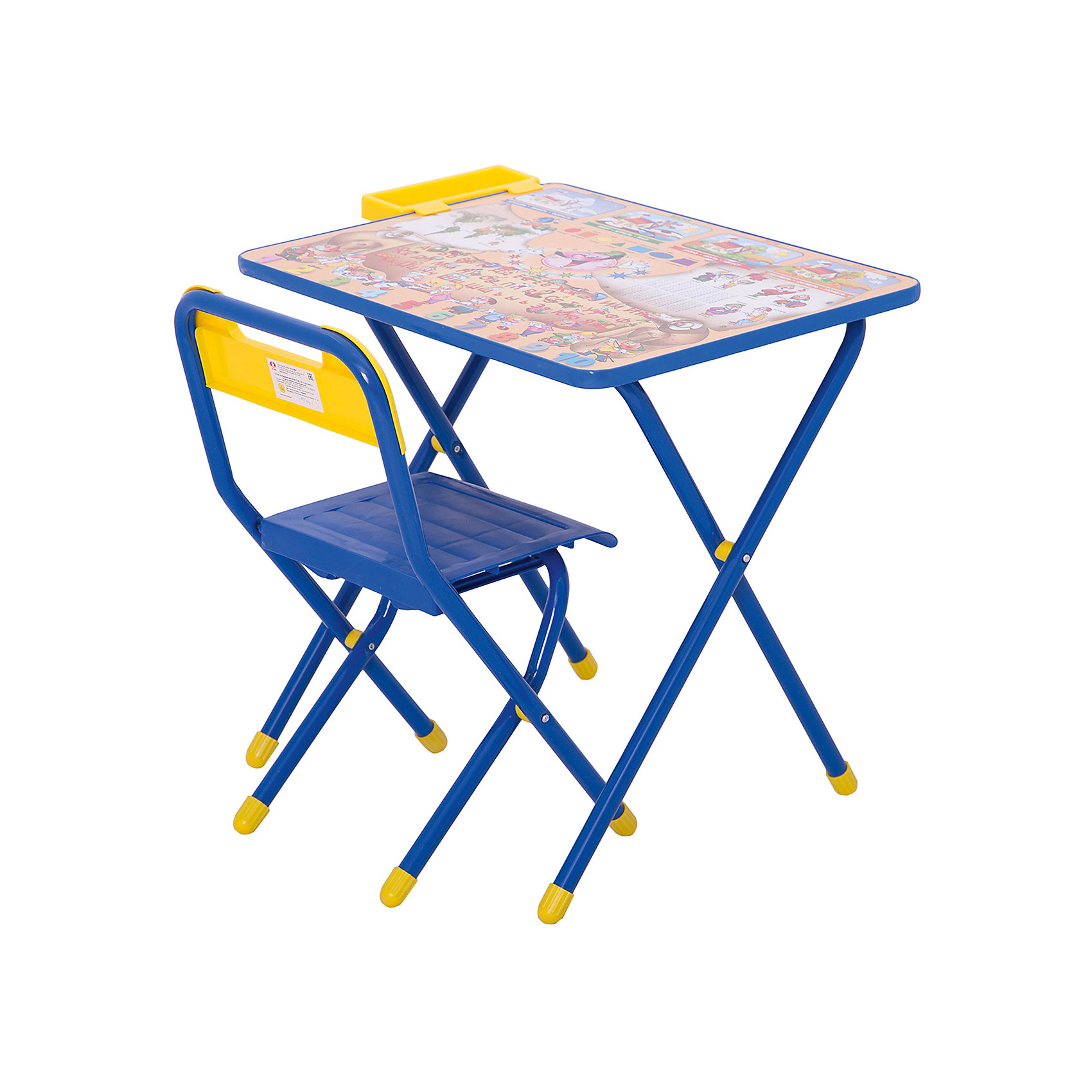 Набор детской складной мебели Веселые гномы, синийКаждый ребенок нуждается в удобной, специальной мебели, чтобы его организм мог развиваться правильно. Такая мебель может быть еще и яркой, а также выполнять обучающую функцию.<br>Набор детской складной мебели Веселые гномы - это универсальный комплект необходимых предметов для малыша. Он состоит из стула и стола, выполненных в ярких цветах. Столешница позволяет разместить на ней все необходимые предметы: можно есть, играть или учиться! На ней расположены обучающие рисунки, также прикреплен специальный пенал для канцелярии. Разработан в соответствии с рекомендациями врачей-ортопедов. Сделан из безопасных для ребенка материалов.<br><br><br>Дополнительная информация:<br><br>цвет: синий;<br>материал: металл, пластик;<br>просторная столешница;<br>оригинальный яркий дизайн;<br>обучающие изображения на столешнице;<br>легко моется;<br>соответствует рекомендациям ортопедов;<br>боковой пенал для канцелярии;<br>для детей ростом от 130 до 145 см;<br>размер столешницы: 45 х 60 см;<br>высота столешницы: 58 см;<br>высота стула: 34 см;<br>сиденье: 26х28 см;<br>спинка: 12х34 см;<br>максимальная нагрузка: 40 кг.<br><br>Набор детской складной мебели Веселые гномы можно купить в нашем магазине.<br><br>Ширина мм: 77<br>Глубина мм: 73<br>Высота мм: 15<br>Вес г: 8500<br>Возраст от месяцев: 48<br>Возраст до месяцев: 96<br>Пол: Унисекс<br>Возраст: Детский<br>SKU: 4693951