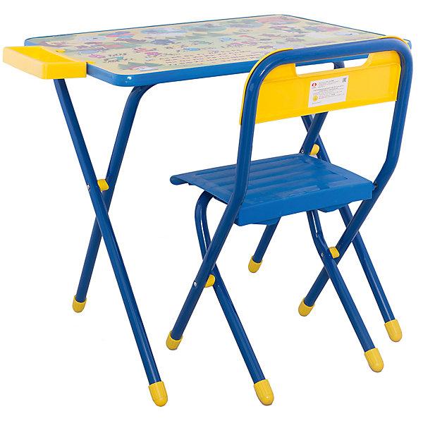 Набор детской складной мебели Медведи, Дэми, синийДетские столы и стулья<br>Каждый ребенок нуждается в удобной, специальной мебели, чтобы его организм мог развиваться правильно. Такая мебель может быть еще и яркой, а также выполнять обучающую функцию.<br>Набор детской складной мебели Медведи - это универсальный комплект необходимых предметов для малыша. Он состоит из стула и стола, выполненных в ярких цветах. Столешница позволяет разместить на ней все необходимые предметы: можно есть, играть или учиться! На ней расположены обучающие рисунки, также прикреплен специальный пенал для канцелярии. Разработан в соответствии с рекомендациями врачей-ортопедов. Сделан из безопасных для ребенка материалов.<br><br><br>Дополнительная информация:<br><br>материал: металл, пластик;<br>просторная столешница;<br>оригинальный яркий дизайн;<br>обучающие изображения на столешнице;<br>легко моется;<br>соответствует рекомендациям ортопедов;<br>боковой пенал для канцелярии;<br>для детей ростом от 130 до 145 см;<br>размер столешницы: 45 х 60 см;<br>высота столешницы: 58 см;<br>высота стула: 34 см;<br>сиденье: 26х28 см;<br>спинка: 12х34 см;<br>максимальная нагрузка: 40 кг.<br><br>Набор детской складной мебели Медведи можно купить в нашем магазине.<br>Ширина мм: 77; Глубина мм: 73; Высота мм: 15; Вес г: 8500; Возраст от месяцев: 48; Возраст до месяцев: 96; Пол: Унисекс; Возраст: Детский; SKU: 4693952;