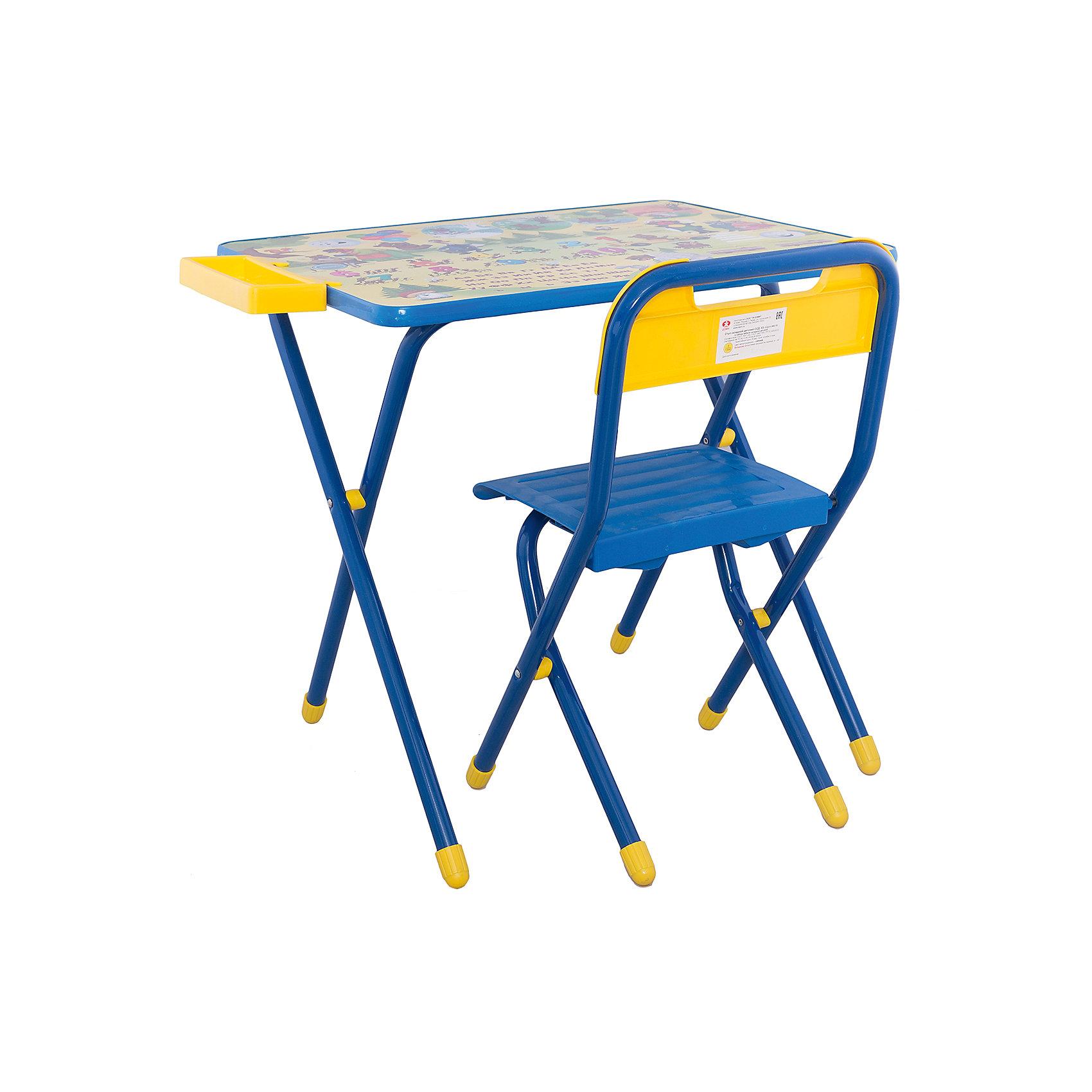 Набор детской складной мебели Медведи, Дэми, синийМебель<br>Каждый ребенок нуждается в удобной, специальной мебели, чтобы его организм мог развиваться правильно. Такая мебель может быть еще и яркой, а также выполнять обучающую функцию.<br>Набор детской складной мебели Медведи - это универсальный комплект необходимых предметов для малыша. Он состоит из стула и стола, выполненных в ярких цветах. Столешница позволяет разместить на ней все необходимые предметы: можно есть, играть или учиться! На ней расположены обучающие рисунки, также прикреплен специальный пенал для канцелярии. Разработан в соответствии с рекомендациями врачей-ортопедов. Сделан из безопасных для ребенка материалов.<br><br><br>Дополнительная информация:<br><br>материал: металл, пластик;<br>просторная столешница;<br>оригинальный яркий дизайн;<br>обучающие изображения на столешнице;<br>легко моется;<br>соответствует рекомендациям ортопедов;<br>боковой пенал для канцелярии;<br>для детей ростом от 130 до 145 см;<br>размер столешницы: 45 х 60 см;<br>высота столешницы: 58 см;<br>высота стула: 34 см;<br>сиденье: 26х28 см;<br>спинка: 12х34 см;<br>максимальная нагрузка: 40 кг.<br><br>Набор детской складной мебели Медведи можно купить в нашем магазине.<br><br>Ширина мм: 77<br>Глубина мм: 73<br>Высота мм: 15<br>Вес г: 8500<br>Возраст от месяцев: 48<br>Возраст до месяцев: 96<br>Пол: Унисекс<br>Возраст: Детский<br>SKU: 4693952