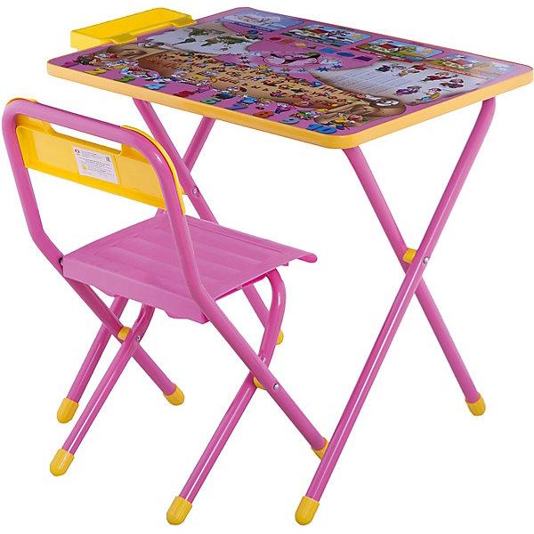 Набор детской складной мебели Веселые гномы, Дэми, розовыйДетские столы и стулья<br>Каждый ребенок нуждается в удобной, специальной мебели, чтобы его организм мог развиваться правильно. Такая мебель может быть еще и яркой, а также выполнять обучающую функцию.<br>Набор детской складной мебели Веселые гномы - это универсальный комплект необходимых предметов для малыша. Он состоит из стула и стола, выполненных в ярких цветах. Столешница позволяет разместить на ней все необходимые предметы: можно есть, играть или учиться! На ней расположены обучающие рисунки, также прикреплен специальный пенал для канцелярии. Разработан в соответствии с рекомендациями врачей-ортопедов. Сделан из безопасных для ребенка материалов.<br><br><br>Дополнительная информация:<br><br>цвет: розовый;<br>материал: металл, пластик;<br>просторная столешница;<br>оригинальный яркий дизайн;<br>обучающие изображения на столешнице;<br>легко моется;<br>соответствует рекомендациям ортопедов;<br>боковой пенал для канцелярии;<br>для детей ростом от 130 до 145 см;<br>размер столешницы: 45 х 60 см;<br>высота столешницы: 58 см;<br>высота стула: 34 см;<br>сиденье: 26х28 см;<br>спинка: 12х34 см;<br>максимальная нагрузка: 40 кг.<br><br>Набор детской складной мебели Веселые гномы можно купить в нашем магазине.<br>Ширина мм: 77; Глубина мм: 73; Высота мм: 15; Вес г: 8500; Возраст от месяцев: 48; Возраст до месяцев: 96; Пол: Унисекс; Возраст: Детский; SKU: 4693953;