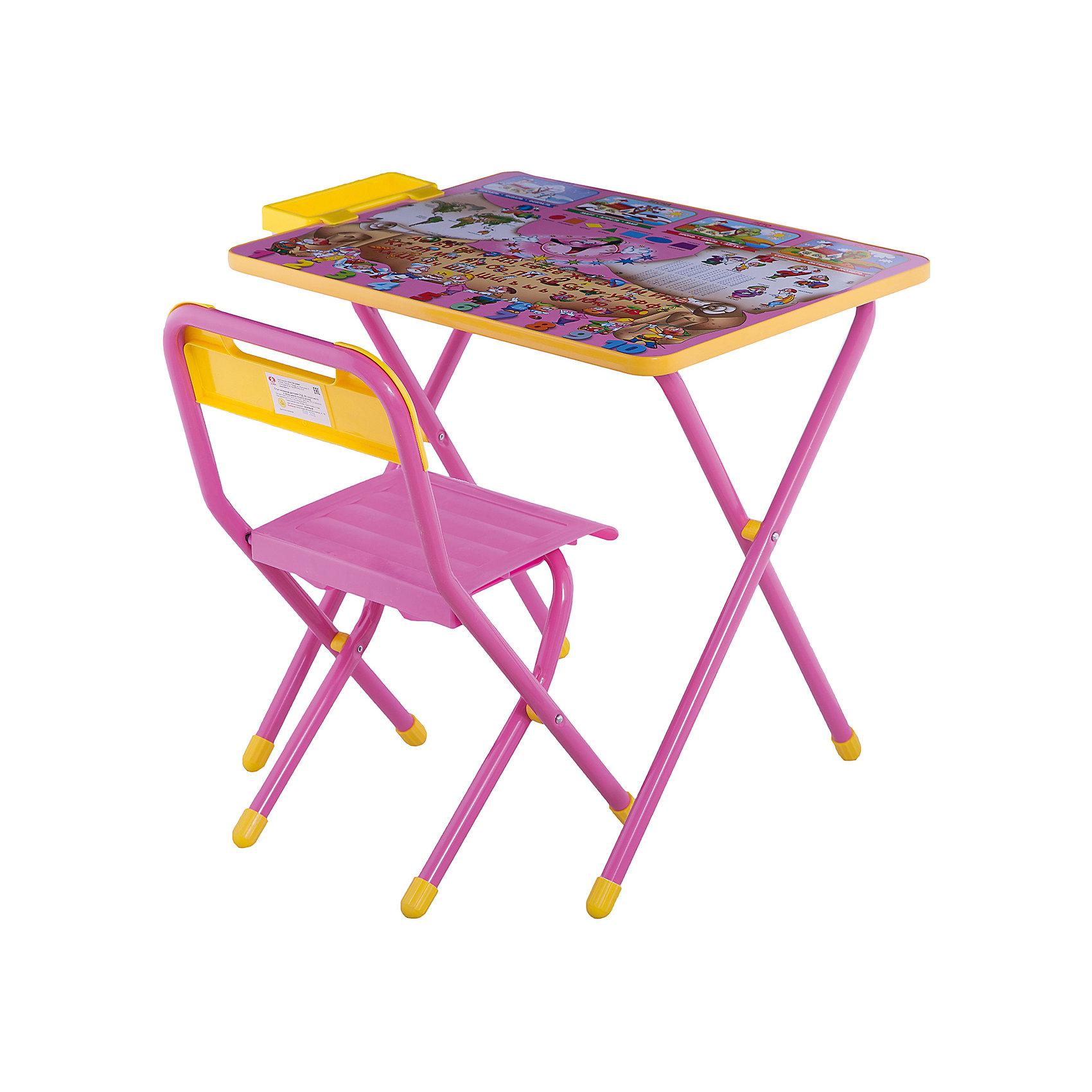 Набор детской складной мебели Веселые гномы, Дэми, розовыйМебель<br>Каждый ребенок нуждается в удобной, специальной мебели, чтобы его организм мог развиваться правильно. Такая мебель может быть еще и яркой, а также выполнять обучающую функцию.<br>Набор детской складной мебели Веселые гномы - это универсальный комплект необходимых предметов для малыша. Он состоит из стула и стола, выполненных в ярких цветах. Столешница позволяет разместить на ней все необходимые предметы: можно есть, играть или учиться! На ней расположены обучающие рисунки, также прикреплен специальный пенал для канцелярии. Разработан в соответствии с рекомендациями врачей-ортопедов. Сделан из безопасных для ребенка материалов.<br><br><br>Дополнительная информация:<br><br>цвет: розовый;<br>материал: металл, пластик;<br>просторная столешница;<br>оригинальный яркий дизайн;<br>обучающие изображения на столешнице;<br>легко моется;<br>соответствует рекомендациям ортопедов;<br>боковой пенал для канцелярии;<br>для детей ростом от 130 до 145 см;<br>размер столешницы: 45 х 60 см;<br>высота столешницы: 58 см;<br>высота стула: 34 см;<br>сиденье: 26х28 см;<br>спинка: 12х34 см;<br>максимальная нагрузка: 40 кг.<br><br>Набор детской складной мебели Веселые гномы можно купить в нашем магазине.<br><br>Ширина мм: 77<br>Глубина мм: 73<br>Высота мм: 15<br>Вес г: 8500<br>Возраст от месяцев: 48<br>Возраст до месяцев: 96<br>Пол: Унисекс<br>Возраст: Детский<br>SKU: 4693953