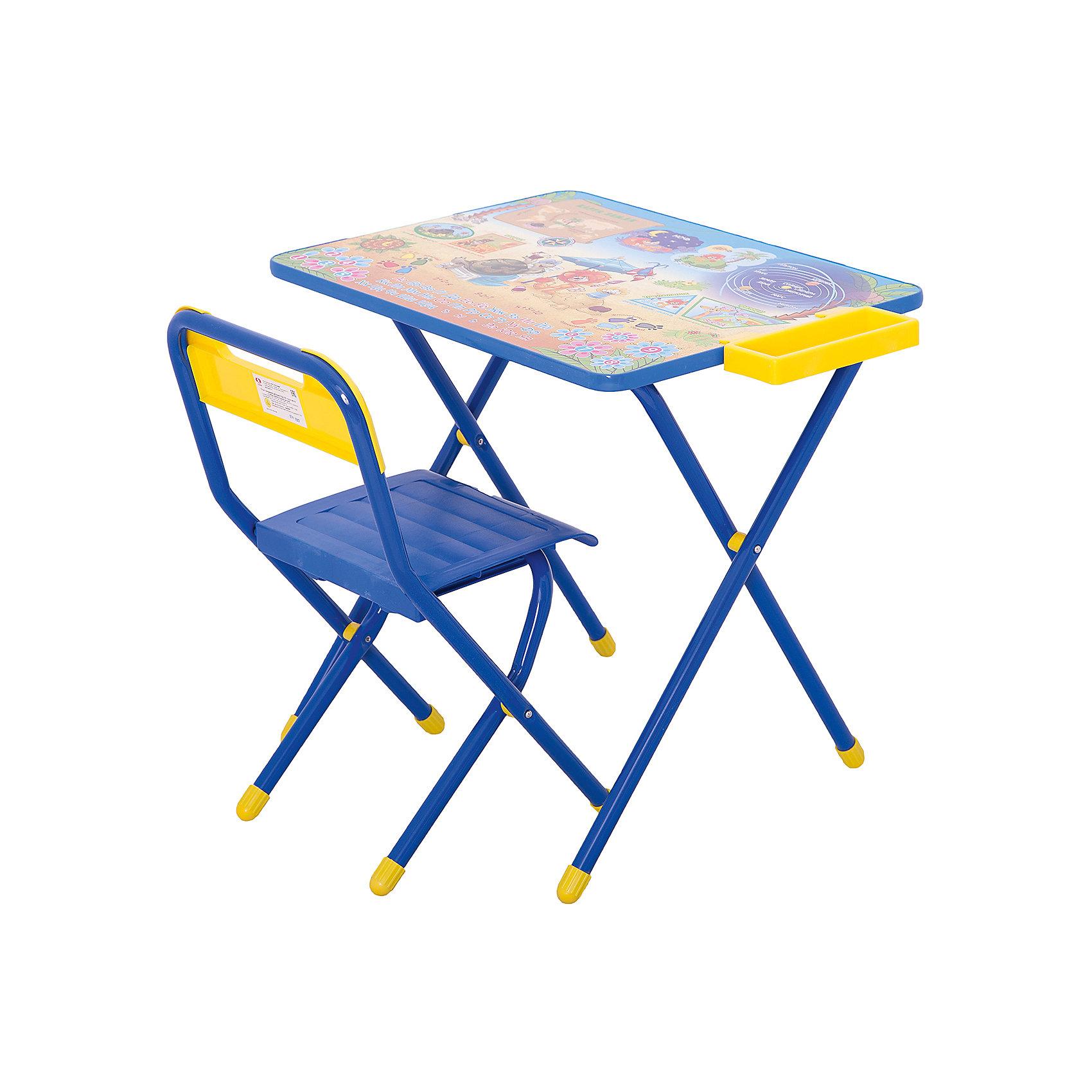 Набор детской складной мебели Львенок и Черепаха, ДэмиМебель<br>Каждый ребенок нуждается в удобной, специальной мебели, чтобы его организм мог развиваться правильно. Такая мебель может быть еще и яркой, а также выполнять обучающую функцию.<br>Набор детской складной мебели Львенок и Черепаха - это универсальный комплект необходимых предметов для малыша. Он состоит из стула и стола, выполненных в ярких цветах. Столешница позволяет разместить на ней все необходимые предметы: можно есть, играть или учиться! На ней расположены обучающие рисунки, также прикреплен специальный пенал для канцелярии. Разработан в соответствии с рекомендациями врачей-ортопедов. Сделан из безопасных для ребенка материалов.<br><br><br>Дополнительная информация:<br><br>материал: металл, пластик;<br>просторная столешница;<br>оригинальный яркий дизайн;<br>обучающие изображения на столешнице;<br>легко моется;<br>соответствует рекомендациям ортопедов;<br>боковой пенал для канцелярии;<br>для детей ростом от 130 до 145 см;<br>размер столешницы: 45 х 60 см;<br>высота столешницы: 58 см;<br>высота стула: 34 см;<br>сиденье: 26х28 см;<br>спинка: 12х34 см;<br>максимальная нагрузка: 40 кг.<br><br>Набор детской складной мебели Львенок и Черепаха можно купить в нашем магазине.<br><br>Ширина мм: 77<br>Глубина мм: 73<br>Высота мм: 15<br>Вес г: 8500<br>Возраст от месяцев: 48<br>Возраст до месяцев: 96<br>Пол: Унисекс<br>Возраст: Детский<br>SKU: 4693955