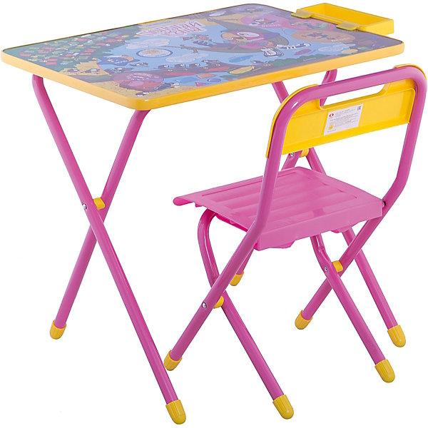 Набор детской складной мебели Попугай Кеша, ДэмиДетские столы и стулья<br>Каждый ребенок нуждается в удобной, специальной мебели, чтобы его организм мог развиваться правильно. Такая мебель может быть еще и яркой, а также выполнять обучающую функцию.<br>Набор детской складной мебели Попугай Кеша - это универсальный комплект необходимых предметов для малыша. Он состоит из стула и стола, выполненных в ярких цветах. Столешница позволяет разместить на ней все необходимые предметы: можно есть, играть или учиться! На ней расположены обучающие рисунки, также прикреплен специальный пенал для канцелярии. Разработан в соответствии с рекомендациями врачей-ортопедов. Сделан из безопасных для ребенка материалов.<br><br><br>Дополнительная информация:<br><br>материал: металл, пластик;<br>просторная столешница;<br>оригинальный яркий дизайн;<br>обучающие изображения на столешнице;<br>легко моется;<br>соответствует рекомендациям ортопедов;<br>боковой пенал для канцелярии;<br>для детей ростом от 130 до 145 см;<br>размер столешницы: 45 х 60 см;<br>высота столешницы: 58 см;<br>высота стула: 34 см;<br>сиденье: 26х28 см;<br>спинка: 12х34 см;<br>максимальная нагрузка: 40 кг.<br><br>Набор детской складной мебели Попугай Кеша можно купить в нашем магазине.<br>Ширина мм: 77; Глубина мм: 73; Высота мм: 15; Вес г: 8500; Возраст от месяцев: 48; Возраст до месяцев: 96; Пол: Унисекс; Возраст: Детский; SKU: 4693958;