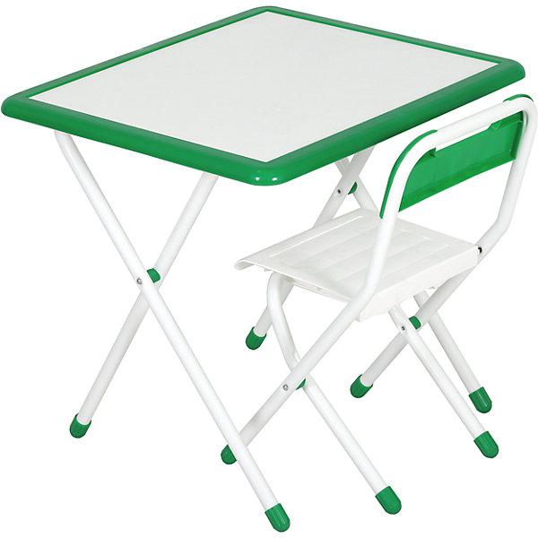 Набор детской складной мебели, Дэми, бело-зеленыйДетские столы и стулья<br>Каждый ребенок нуждается в удобной, специальной мебели, чтобы его организм мог развиваться правильно. Этот набор детской складной мебели - универсальный комплект необходимых предметов для малыша. Он состоит из стула и стола, выполненных в приятных тонах. <br>Столешница позволяет разместить на ней все необходимые предметы: можно есть, играть или учиться! Набор разработан в соответствии с рекомендациями врачей-ортопедов. Сделан из безопасных для ребенка материалов. Стол и стульчик очень легко моется - ребенок сам сможет поддерживать его в чистоте. Мебель складная, ее очень удобно хранить.<br><br><br>Дополнительная информация:<br>цвет: белый/зеленый;<br>просторная столешница (550*640 мм);<br>оригинальный дизайн;<br>легко моется;<br>соответствует рекомендациям ортопедов;<br>для детей ростом от 115 до 130 см;<br>соответствует стандартам качества.<br><br>Набор детской складной мебели бело-зеленый можно купить в нашем магазине.<br>Ширина мм: 77; Глубина мм: 73; Высота мм: 15; Вес г: 8500; Цвет: gr?n/wei?; Возраст от месяцев: 48; Возраст до месяцев: 96; Пол: Унисекс; Возраст: Детский; SKU: 4693959;