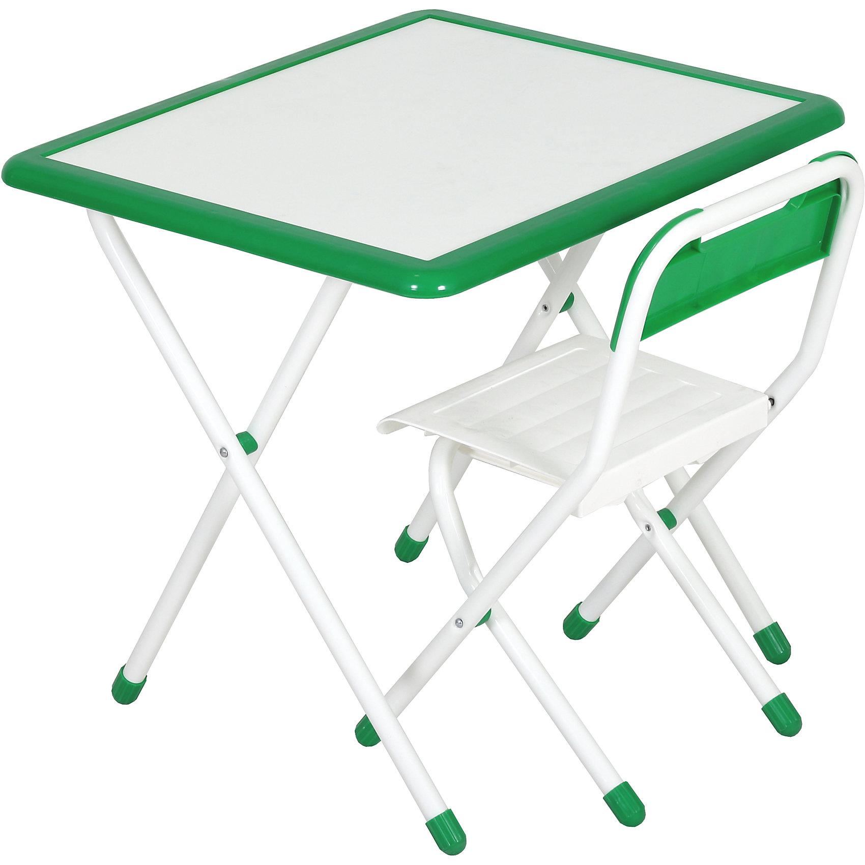 Набор детской складной мебели, Дэми, бело-зеленыйМебель<br>Каждый ребенок нуждается в удобной, специальной мебели, чтобы его организм мог развиваться правильно. Этот набор детской складной мебели - универсальный комплект необходимых предметов для малыша. Он состоит из стула и стола, выполненных в приятных тонах. <br>Столешница позволяет разместить на ней все необходимые предметы: можно есть, играть или учиться! Набор разработан в соответствии с рекомендациями врачей-ортопедов. Сделан из безопасных для ребенка материалов. Стол и стульчик очень легко моется - ребенок сам сможет поддерживать его в чистоте. Мебель складная, ее очень удобно хранить.<br><br><br>Дополнительная информация:<br>цвет: белый/зеленый;<br>просторная столешница;<br>оригинальный дизайн;<br>легко моется;<br>соответствует рекомендациям ортопедов;<br>для детей ростом от 115 до 130 см;<br>соответствует стандартам качества.<br><br>Набор детской складной мебели бело-зеленый можно купить в нашем магазине.<br><br>Ширина мм: 77<br>Глубина мм: 73<br>Высота мм: 15<br>Вес г: 8500<br>Цвет: белый/зеленый<br>Возраст от месяцев: 48<br>Возраст до месяцев: 96<br>Пол: Унисекс<br>Возраст: Детский<br>SKU: 4693959