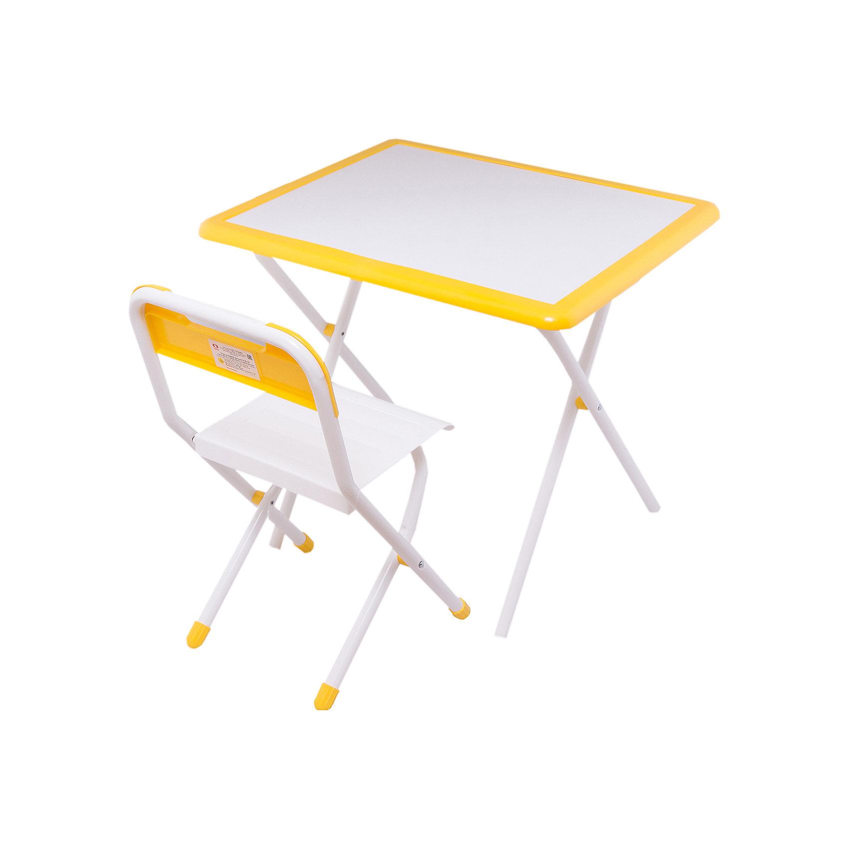 Набор детской складной мебели, Дэми, бело-желтыйМебель<br>Каждый ребенок нуждается в удобной, специальной мебели, чтобы его организм мог развиваться правильно. Этот набор детской складной мебели - универсальный комплект необходимых предметов для малыша. Он состоит из стула и стола, выполненных в приятных тонах. <br>Столешница позволяет разместить на ней все необходимые предметы: можно есть, играть или учиться! Набор разработан в соответствии с рекомендациями врачей-ортопедов. Сделан из безопасных для ребенка материалов. Стол и стульчик очень легко моется - ребенок сам сможет поддерживать его в чистоте. Мебель складная, ее очень удобно хранить.<br><br><br>Дополнительная информация:<br>цвет: белый/желтый;<br>просторная столешница;<br>оригинальный дизайн;<br>легко моется;<br>соответствует рекомендациям ортопедов;<br>боковой пенал для канцелярии;<br>для детей ростом от 115 до 130 см;<br>соответствует стандартам качества.<br><br>Набор детской складной мебели бело-желтый можно купить в нашем магазине.<br><br>Ширина мм: 77<br>Глубина мм: 73<br>Высота мм: 15<br>Вес г: 8500<br>Цвет: белый/желтый<br>Возраст от месяцев: 48<br>Возраст до месяцев: 96<br>Пол: Унисекс<br>Возраст: Детский<br>SKU: 4693960