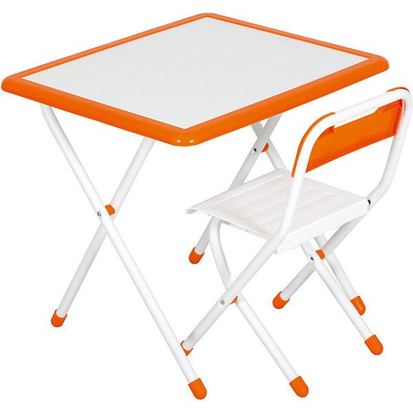 Набор детской складной мебели, Дэми, бело-оранжевыйДетские столы и стулья<br>Каждый ребенок нуждается в удобной, специальной мебели, чтобы его организм мог развиваться правильно. Этот набор детской складной мебели - универсальный комплект необходимых предметов для малыша. Он состоит из стула и стола, выполненных в приятных тонах. <br>Столешница позволяет разместить на ней все необходимые предметы: можно есть, играть или учиться! Набор разработан в соответствии с рекомендациями врачей-ортопедов. Сделан из безопасных для ребенка материалов. Стол и стульчик очень легко моется - ребенок сам сможет поддерживать его в чистоте. Мебель складная, ее очень удобно хранить.<br><br><br>Дополнительная информация:<br>цвет: белый/оранжевый;<br>просторная столешница (550*640 мм);<br>оригинальный дизайн;<br>легко моется;<br>соответствует рекомендациям ортопедов;<br>боковой пенал для канцелярии;<br>для детей ростом от 115 до 130 см;<br>соответствует стандартам качества.<br><br>Набор детской складной мебели бело-оранжевый можно купить в нашем магазине.<br>Ширина мм: 77; Глубина мм: 73; Высота мм: 15; Вес г: 8500; Цвет: оранжевый/белый; Возраст от месяцев: 48; Возраст до месяцев: 96; Пол: Унисекс; Возраст: Детский; SKU: 4693961;