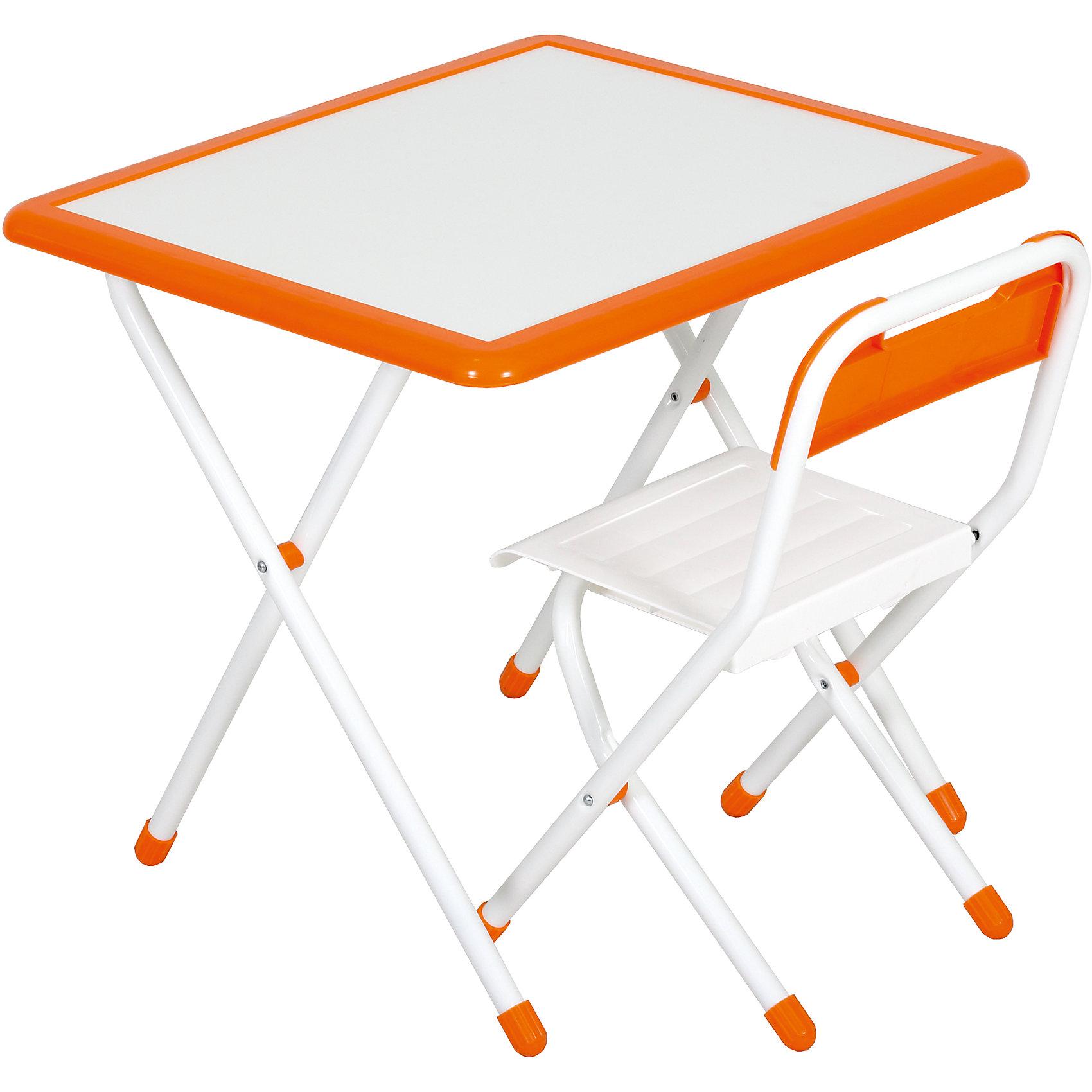 Набор детской складной мебели, Дэми, бело-оранжевыйМебель<br>Каждый ребенок нуждается в удобной, специальной мебели, чтобы его организм мог развиваться правильно. Этот набор детской складной мебели - универсальный комплект необходимых предметов для малыша. Он состоит из стула и стола, выполненных в приятных тонах. <br>Столешница позволяет разместить на ней все необходимые предметы: можно есть, играть или учиться! Набор разработан в соответствии с рекомендациями врачей-ортопедов. Сделан из безопасных для ребенка материалов. Стол и стульчик очень легко моется - ребенок сам сможет поддерживать его в чистоте. Мебель складная, ее очень удобно хранить.<br><br><br>Дополнительная информация:<br>цвет: белый/оранжевый;<br>просторная столешница;<br>оригинальный дизайн;<br>легко моется;<br>соответствует рекомендациям ортопедов;<br>боковой пенал для канцелярии;<br>для детей ростом от 115 до 130 см;<br>соответствует стандартам качества.<br><br>Набор детской складной мебели бело-оранжевый можно купить в нашем магазине.<br><br>Ширина мм: 77<br>Глубина мм: 73<br>Высота мм: 15<br>Вес г: 8500<br>Цвет: белый/оранжевый<br>Возраст от месяцев: 48<br>Возраст до месяцев: 96<br>Пол: Унисекс<br>Возраст: Детский<br>SKU: 4693961