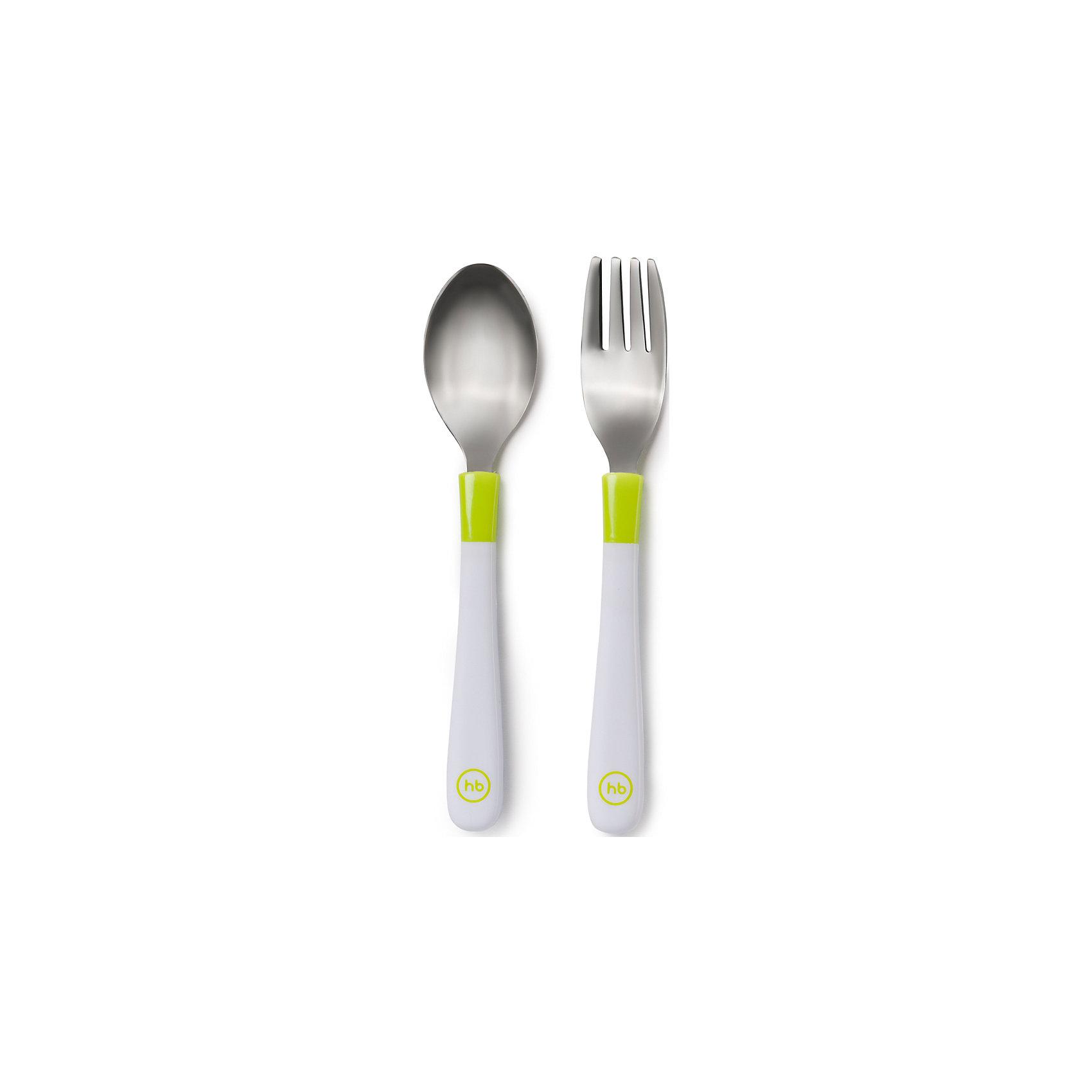 Happy Baby Набор столовых приборов (ложка и вилка), Happy Baby, салатовый столовые приборы happy baby набор столовых приборов spoon fork baby cutlery set