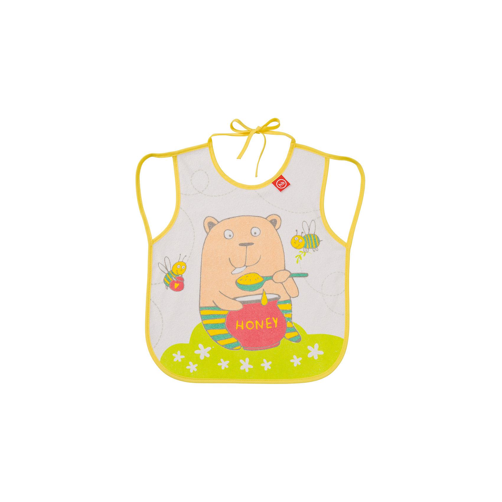 Happy Baby Фартук нагрудный, Happy Baby, желтый регулируемый нагрудный фартук с