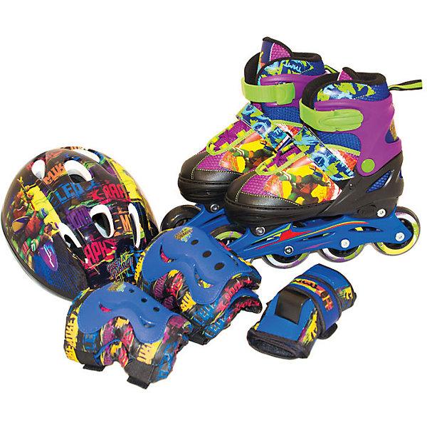 Набор ролики + защита, р. 34-37, Черепашки НиндзяЗащита, шлемы<br>Если ваш ребенок решил научиться кататься на роликах, этот набор придется как нельзя кстати! Яркие раздвижные ролики, шлем и защита, оформленные изображениями любимых героев, приведут в восторг всех юных роллеров! Устойчивые ролики комфортно сидят по ноге и надёжно фиксируются с помощью клипсы с фиксатором, они прослужат долгое время, так как размер роликов можно увеличивать с помощью кнопочной системы. Раздвижные ролики - идеальный вариант для быстро растущей детской ноги. Удобный шлем аэродинамической формы, налокотники, наколенники и защита на запястья уберегут ребенка от травм во время падений и сделают катание безопасным и комфортным.  Ролики, шлем и защита выполнены из высококачественных прочных материалов, имеют множество застежек в виде клипс с фиксаторами и ремней на липучке. <br><br>Дополнительная информация:<br><br>- Материал: пластик, полиуретан, металл, текстиль.<br>- Размер роликов: 34-37.<br>- Комплектация: защита на локти, колени, запястья, шлем, раздвижные ролики.<br>- Шлем аэродинамичной формы.<br>- Шлем застёгивается на ремешок.<br>- Защита застегивается на липучки и кнопки, не сковывает движения.<br>- Ролики застегиваются на клипсу с фиксатором.<br>- Колеса из качественного поливинилхлорида устойчивы к колебанию температуры и влажности.<br>- Размер колес: 7,6 см.<br>- Подшипники: ABEC3.<br>- Жесткость: 82А.<br><br>Набор ролики + защита (р. 34-37), Черепашки Ниндзя, можно купить в нашем магазине.<br>Ширина мм: 380; Глубина мм: 260; Высота мм: 200; Вес г: 2775; Возраст от месяцев: 36; Возраст до месяцев: 84; Пол: Мужской; Возраст: Детский; SKU: 4696130;