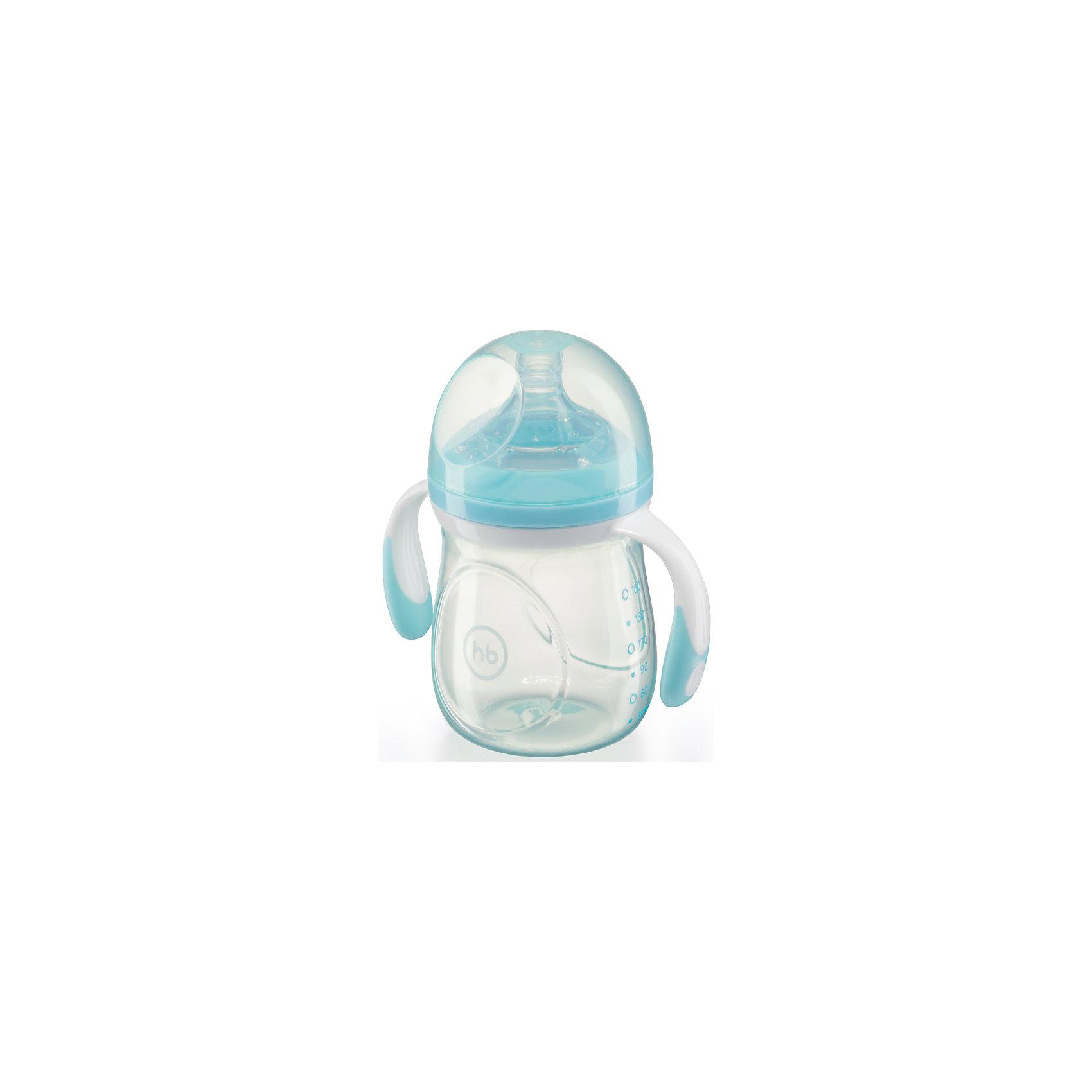 Happy Baby Бутылочка для кормления с антиколиковой соской, 180 мл, Happy Baby, голубой