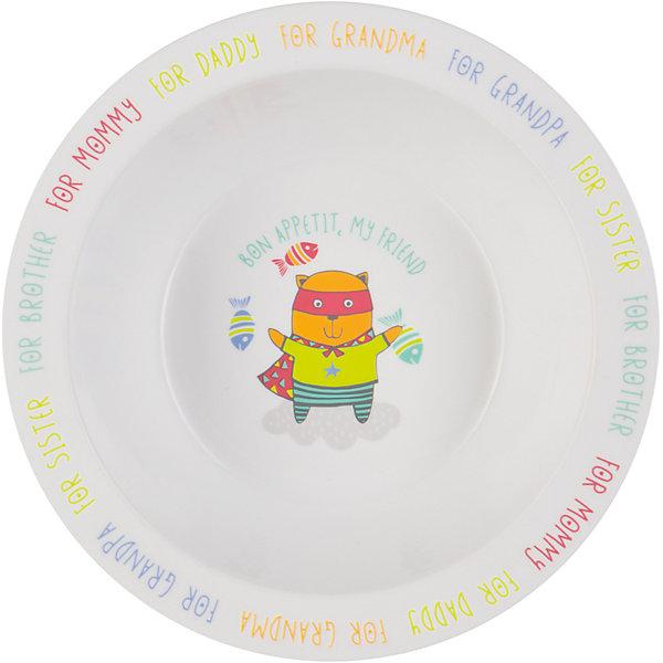 Тарелка глубокая Cat, Happy BabyДетская посуда<br>Тарелка глубокая Cat,  от торговой марки Happy Baby для кормления поможет приучить  ребенка к самостоятельному приему пищи. Для облегчения этого процесса тарелка имеет широкие края - и ребенку удобно доставать еду из посуды. <br>На дне нарисован веселый кот,  желающий крохе приятного аппетита. А по краям тарелки указаны любимые каждой мамой подсказки: за папу, за бабушку, за брата и т.д.<br>Тарелка для кормления подходит для использования в микроволновой печи. Допускается мытье в посудомоечной машине. Как и вся детская посуда от торговой марки  Happy Baby, изделие изготовлено из безопасного, первичного пластика, не содержащего вредных для здоровья компонентов.<br><br>Дополнительная информация: <br><br>- материал : полипропилен, термопластичный эластомер<br>- дизайн: животные<br>- диаметр: 16,5 см<br>- высота, 6 см<br>- цвет белый, бирюзовый, собака<br>- размеры, 165 * 60 * 60 мм<br>- размер упаковки (ДхШхВ), 22 * 15 * 6  см<br>- вес в упаковке, 85 г<br><br>Тарелку глубокую Cat, Happy Baby можно купить в нашем интернет-магазине.<br><br>Ширина мм: 50<br>Глубина мм: 165<br>Высота мм: 210<br>Вес г: 58<br>Возраст от месяцев: 6<br>Возраст до месяцев: 18<br>Пол: Унисекс<br>Возраст: Детский<br>SKU: 4696837