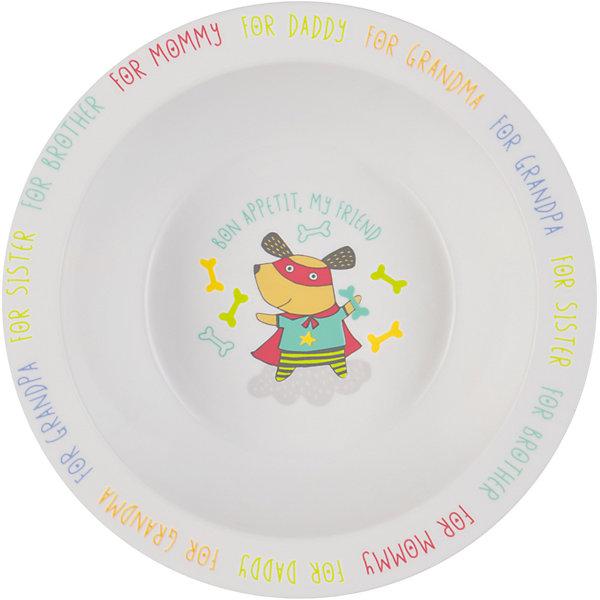 Тарелка глубокая Dog, Happy BabyДетские тарелки<br>Тарелка глубокая Dog,  от торговой марки Happy Baby для кормления предназначена для приучения ребенка к самостоятельному приему пищи. Для облегчения этого процесса тарелка имеет широкие края - благодаря им, ребенку удобно доставать еду из посуды. <br>На дне нарисован забавный пес, желающий крохе приятного аппетита. А по краям тарелки указаны любимые каждой мамой подсказки: за папу, за бабушку, за брата и т.д.<br>Тарелка для кормления подходит для использования в микроволновой печи. Допускается мытье в посудомоечной машине. Как и вся детская посуда от торговой марки  Happy Baby, изделие изготовлено из безопасного, первичного пластика, не содержащего вредных для здоровья компонентов.<br><br>Дополнительная информация: <br><br>- материал: полипропилен, термопластичный эластомер<br>- дизайн: животные<br>- диаметр: 16,5 см<br>- высота, 6 см<br>- цвет белый, бирюзовый, собака<br>- размеры, 165 * 60 * 60 мм<br>- размер упаковки (ДхШхВ), 22 * 15 * 6  см<br>- вес в упаковке, 85 г<br><br>Тарелку глубокую Dog, Happy Baby можно купить в нашем интернет-магазине.<br><br>Ширина мм: 50<br>Глубина мм: 165<br>Высота мм: 210<br>Вес г: 58<br>Возраст от месяцев: 6<br>Возраст до месяцев: 18<br>Пол: Унисекс<br>Возраст: Детский<br>SKU: 4696838