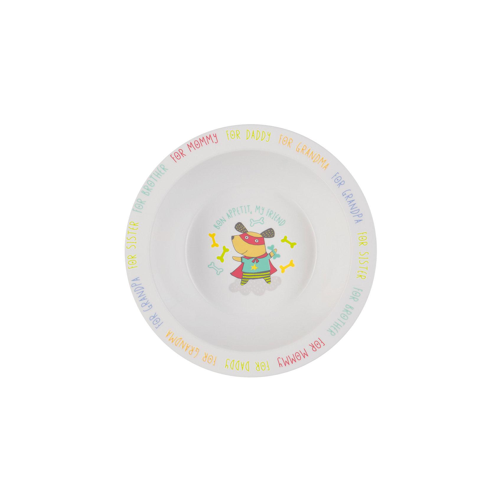 Тарелка глубокая Dog, Happy BabyТарелка глубокая Dog,  от торговой марки Happy Baby для кормления предназначена для приучения ребенка к самостоятельному приему пищи. Для облегчения этого процесса тарелка имеет широкие края - благодаря им, ребенку удобно доставать еду из посуды. <br>На дне нарисован забавный пес, желающий крохе приятного аппетита. А по краям тарелки указаны любимые каждой мамой подсказки: за папу, за бабушку, за брата и т.д.<br>Тарелка для кормления подходит для использования в микроволновой печи. Допускается мытье в посудомоечной машине. Как и вся детская посуда от торговой марки  Happy Baby, изделие изготовлено из безопасного, первичного пластика, не содержащего вредных для здоровья компонентов.<br><br>Дополнительная информация: <br><br>- материал: полипропилен, термопластичный эластомер<br>- дизайн: животные<br>- диаметр: 16,5 см<br>- высота, 6 см<br>- цвет белый, бирюзовый, собака<br>- размеры, 165 * 60 * 60 мм<br>- размер упаковки (ДхШхВ), 22 * 15 * 6  см<br>- вес в упаковке, 85 г<br><br>Тарелку глубокую Dog, Happy Baby можно купить в нашем интернет-магазине.<br><br>Ширина мм: 50<br>Глубина мм: 165<br>Высота мм: 210<br>Вес г: 58<br>Возраст от месяцев: 6<br>Возраст до месяцев: 18<br>Пол: Унисекс<br>Возраст: Детский<br>SKU: 4696838