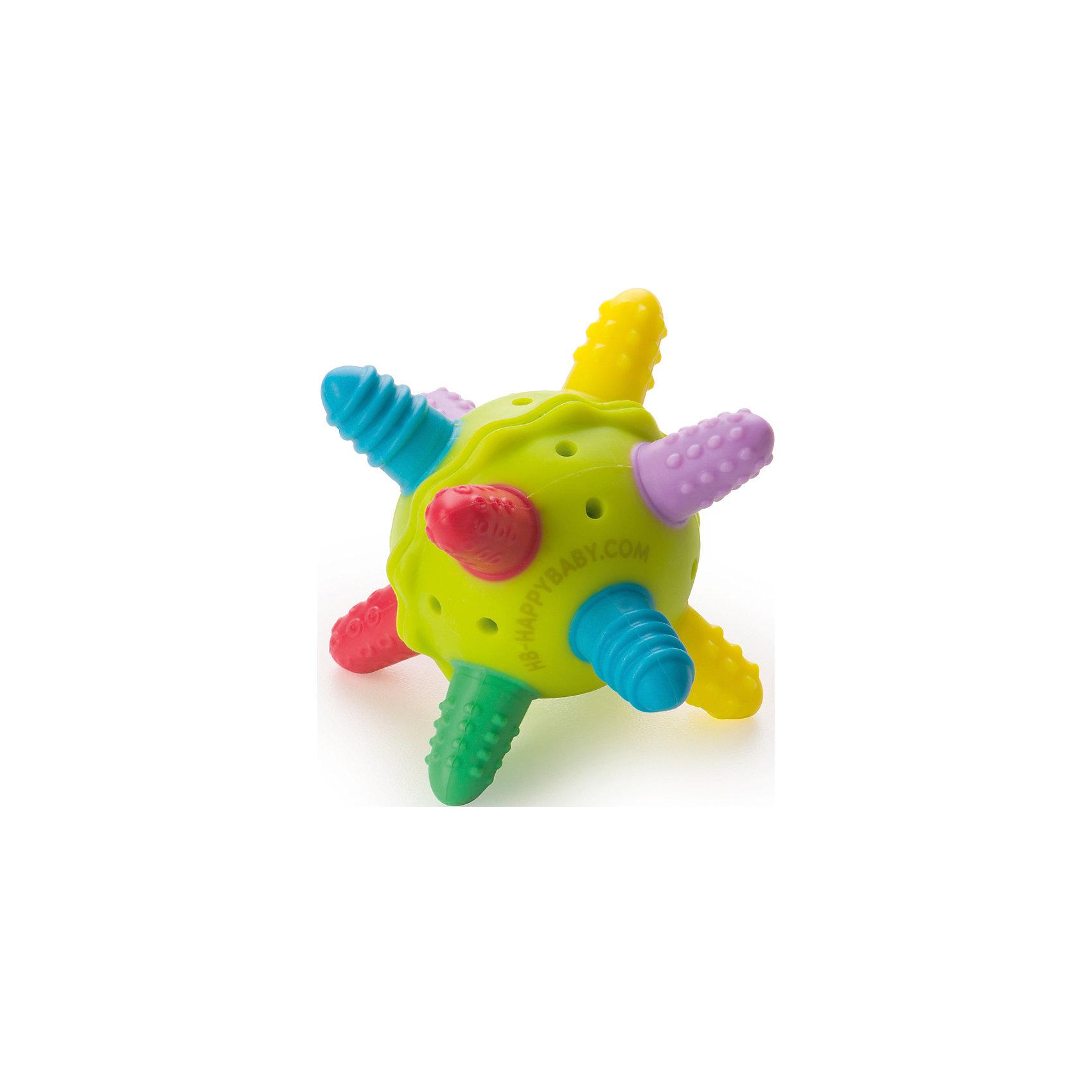 Прорезыватель-погремушка силиконовая, с 4 мес., Happy BabyПрорезыватели<br>Прорезыватель-погремушка силиконовая, с 4 мес., Happy Baby совершенно необходим в период, когда у малыша начинают резаться зубки. Прорезыватель увлечет малыша игрой, поможет развить внимание и хватательные рефлексы. Изделие массирует десны, имеет эргономичную форму и проникает в труднодоступные места ротовой полости. Уход: мыть горячей водой с мылом и тщательно ополаскивать. Сушить при комнатной температуре.<br>Внимание! Вымыть перед первым использованием. Не класть в морозильную камеру. Не кипятить.<br><br>Дополнительная информация: <br><br>- возраст: от 4 месяцев.<br>- материал: силикон, полистирол<br><br>Прорезыватель-погремушку силиконовую, с 4 мес., Happy Baby можно купить в нашем интернет-магазине.<br><br>Ширина мм: 80<br>Глубина мм: 80<br>Высота мм: 125<br>Вес г: 118<br>Возраст от месяцев: 4<br>Возраст до месяцев: 9<br>Пол: Унисекс<br>Возраст: Детский<br>SKU: 4696849
