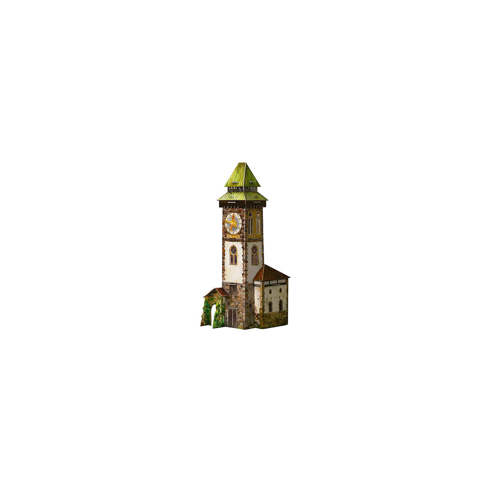 Сборная модель Башня с часами.Набор Башня с часами - конструктор из высококачественного толстого (переплетённого) картона. Высокая степень детализации и реалистичные детали делают сборку конструктора очень интересным занятием. Модель собирается без ножниц и клея. Все соединения разработаны и рассчитаны с большой точностью. Конструирование -увлекательный и полезный процесс, развивающий мелкую моторику, внимание, усидчивость, пространственное мышление и фантазию.<br><br>Дополнительная информация:<br><br>- В комплекте - часовой механизм и фигурные стрелки.<br>- Элемент питания: батарейка (нет в комплекте).<br>- Материал: картон.<br>- Размер упаковки: 34х24 см.<br>- Высота модели: 32 см.<br>- Количество деталей: 30.<br>- Совместим с серией Средневековый город.<br><br>Сборную модель Башня с часами можно купить в нашем магазине.<br><br>Ширина мм: 250<br>Глубина мм: 347<br>Высота мм: 34<br>Вес г: 380<br>Возраст от месяцев: 72<br>Возраст до месяцев: 168<br>Пол: Унисекс<br>Возраст: Детский<br>SKU: 4697715