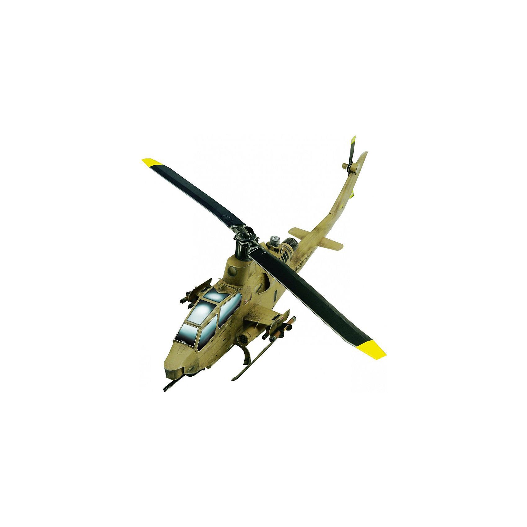 Сборная модель Вертолет Кобра (песочный)Сборная бумажная модель Вертолет Кобра – многоцелевой ударный вертолет, предназначенный для огневой поддержки сухопутных войск и борьбы с бронетехникой. Высокая степень детализации и реалистичные детали делают сборку конструктора очень интересным занятием. Принцип соединения деталей запатентован: все соединения разработаны и рассчитаны с такой точностью, что с правильно собранной игрушкой можно играть, как с обычной. Конструирование увлекательный и полезный процесс, развивающий мелкую моторику, внимание, усидчивость, пространственное мышление и фантазию.<br>Все сборные модели «Умная Бумага» разрабатываются на основе чертежей и фотографий оригинала. В их оформлении широко используются современные способы обработки бумаги для передачи рельефности поверхности, а для имитации хромированных и золоченых элементов применяется тиснение фольгой.<br><br>Дополнительная информация:<br><br>- Материал: картон.<br>- Масштаб: 1:48.<br>- Размер модели: 28х7,5х8 см.<br>- Размер упаковки: 22х24 см.<br>- Количество деталей: 43.<br><br>Сборную модель Вертолет Кобра (песочный цвет) можно купить в нашем магазине.<br><br>Ширина мм: 220<br>Глубина мм: 242<br>Высота мм: 2<br>Вес г: 40<br>Возраст от месяцев: 72<br>Возраст до месяцев: 168<br>Пол: Мужской<br>Возраст: Детский<br>SKU: 4697718