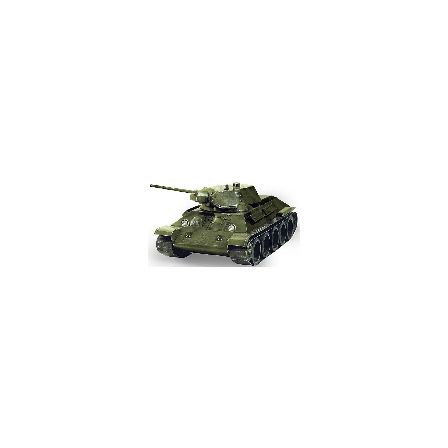 Сборная модель Танк Т-34 обр. 1941 г. (зеленый)Бумажные модели<br>Танк Т-34 - легендарный советский танк с вращающейся башней, выполненный в масштабе 1:35. Высокая степень детализации и реалистичные детали делают сборку конструктора очень интересным занятием. Принцип соединения деталей запатентован: все соединения разработаны и рассчитаны с такой точностью, что с правильно собранной игрушкой можно играть, как с обычной. Конструирование увлекательный и полезный процесс, развивающий мелкую моторику, внимание, усидчивость, пространственное мышление и фантазию. <br>Все сборные модели «Умная Бумага» разрабатываются на основе чертежей и фотографий оригинала. В их оформлении широко используются современные способы обработки бумаги для передачи рельефности поверхности, а для имитации хромированных и золоченых элементов применяется тиснение фольгой.<br><br>Дополнительная информация:<br><br>- Материал: картон.<br>- Масштаб: 1:35.<br>- Размер модели: 19,5 х 9 х 7 см.<br>- Размер упаковки: 22х34 см.<br><br>Сборную модель Танк Т-34 обр. 1941 г. (зеленый) можно купить в нашем магазине.<br><br>Ширина мм: 216<br>Глубина мм: 341<br>Высота мм: 3<br>Вес г: 80<br>Возраст от месяцев: 72<br>Возраст до месяцев: 168<br>Пол: Мужской<br>Возраст: Детский<br>SKU: 4697721