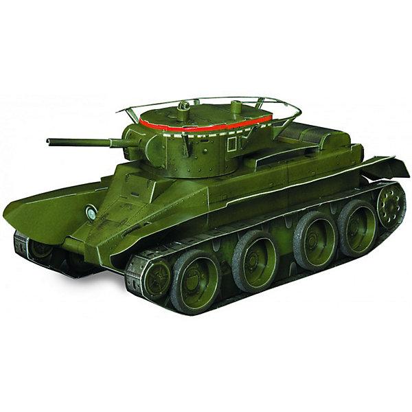 Сборная модель Танк БТ- 5Модели из бумаги<br>Танк Танк БТ- 5 - легкий колесно-гусеничный танк. Сборная модель с вращающейся башней, выполненная в масштабе 1:35. Высокая степень детализации и реалистичные детали делают сборку конструктора очень интересным занятием. Принцип соединения деталей запатентован: все соединения разработаны и рассчитаны с такой точностью, что с правильно собранной игрушкой можно играть, как с обычной. Конструирование увлекательный и полезный процесс, развивающий мелкую моторику, внимание, усидчивость, пространственное мышление и фантазию. <br>Все сборные модели «Умная Бумага» разрабатываются на основе чертежей и фотографий оригинала. В их оформлении широко используются современные способы обработки бумаги для передачи рельефности поверхности, а для имитации хромированных и золоченых элементов применяется тиснение фольгой.<br><br>Дополнительная информация:<br><br>- Материал: картон.<br>- Масштаб: 1:35.<br>- Комплектация:  2 больших листа с деталями, колеса, инструкция по сборке.<br>- Размер модели: 15,5x6,5x6 см.<br>- 54 детали.<br>- Размер упаковки: 30х21 см.<br><br>Сборную модель Танк БТ- 5 можно купить в нашем магазине.<br><br>Ширина мм: 218<br>Глубина мм: 340<br>Высота мм: 3<br>Вес г: 60<br>Возраст от месяцев: 72<br>Возраст до месяцев: 168<br>Пол: Мужской<br>Возраст: Детский<br>SKU: 4697723