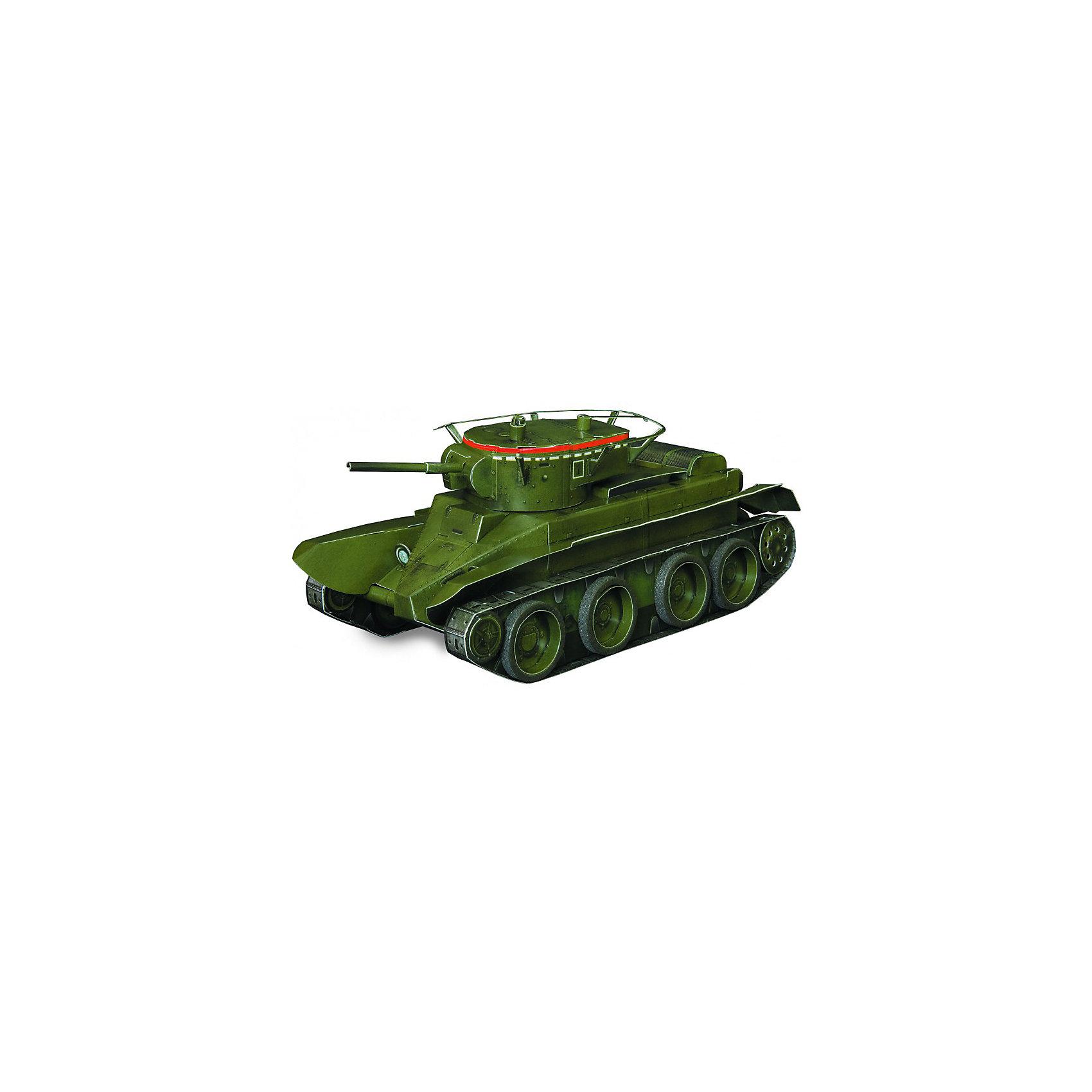 Сборная модель Танк БТ- 5Картонные модели<br>Танк Танк БТ- 5 - легкий колесно-гусеничный танк. Сборная модель с вращающейся башней, выполненная в масштабе 1:35. Высокая степень детализации и реалистичные детали делают сборку конструктора очень интересным занятием. Принцип соединения деталей запатентован: все соединения разработаны и рассчитаны с такой точностью, что с правильно собранной игрушкой можно играть, как с обычной. Конструирование увлекательный и полезный процесс, развивающий мелкую моторику, внимание, усидчивость, пространственное мышление и фантазию. <br>Все сборные модели «Умная Бумага» разрабатываются на основе чертежей и фотографий оригинала. В их оформлении широко используются современные способы обработки бумаги для передачи рельефности поверхности, а для имитации хромированных и золоченых элементов применяется тиснение фольгой.<br><br>Дополнительная информация:<br><br>- Материал: картон.<br>- Масштаб: 1:35.<br>- Комплектация:  2 больших листа с деталями, колеса, инструкция по сборке.<br>- Размер модели: 15,5x6,5x6 см.<br>- 54 детали.<br>- Размер упаковки: 30х21 см.<br><br>Сборную модель Танк БТ- 5 можно купить в нашем магазине.<br><br>Ширина мм: 218<br>Глубина мм: 340<br>Высота мм: 3<br>Вес г: 60<br>Возраст от месяцев: 72<br>Возраст до месяцев: 168<br>Пол: Мужской<br>Возраст: Детский<br>SKU: 4697723