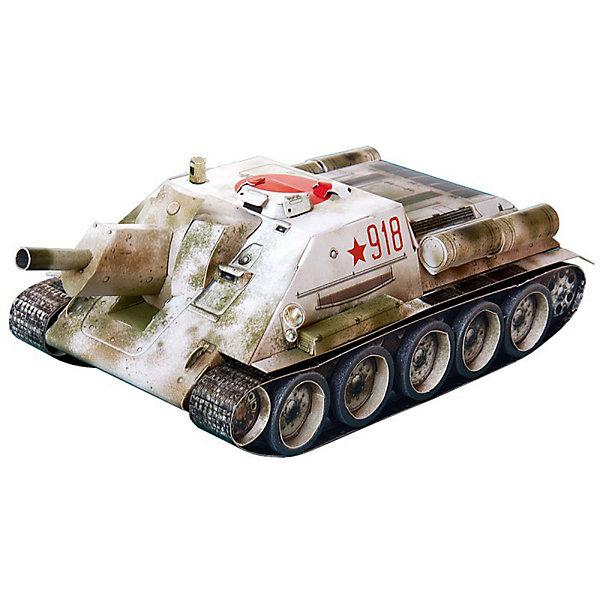 Сборная модель Самоходная артиллерийская установка СУ-122Бумажные модели<br>Самоходная артиллерийская установка СУ-122 - это первая серийная самоходка Красной Армии в годы Великой Отечественной Войны. Из 638 выпущенных машин до настоящего времени сохранилась только одна. Сборная модель выполнена в масштабе 1:35. Высокая степень детализации и реалистичные детали делают сборку конструктора очень интересным занятием. Принцип соединения деталей запатентован: все соединения разработаны и рассчитаны с такой точностью, что с правильно собранной игрушкой можно играть, как с обычной. Конструирование увлекательный и полезный процесс, развивающий мелкую моторику, внимание, усидчивость, пространственное мышление и фантазию. <br>Все сборные модели «Умная Бумага» разрабатываются на основе чертежей и фотографий оригинала. В их оформлении широко используются современные способы обработки бумаги для передачи рельефности поверхности, а для имитации хромированных и золоченых элементов применяется тиснение фольгой.<br><br>Дополнительная информация:<br><br>- Материал: картон.<br>- Масштаб: 1:35.<br>- Размер модели: 20х9х6 см.<br>- Размер упаковки: 22х34 см.<br>- 68 деталей.<br><br>Сборную модель Самоходная артиллерийская установка СУ-122 можно купить в нашем магазине.<br><br>Ширина мм: 214<br>Глубина мм: 337<br>Высота мм: 4<br>Вес г: 140<br>Возраст от месяцев: 72<br>Возраст до месяцев: 168<br>Пол: Мужской<br>Возраст: Детский<br>SKU: 4697731