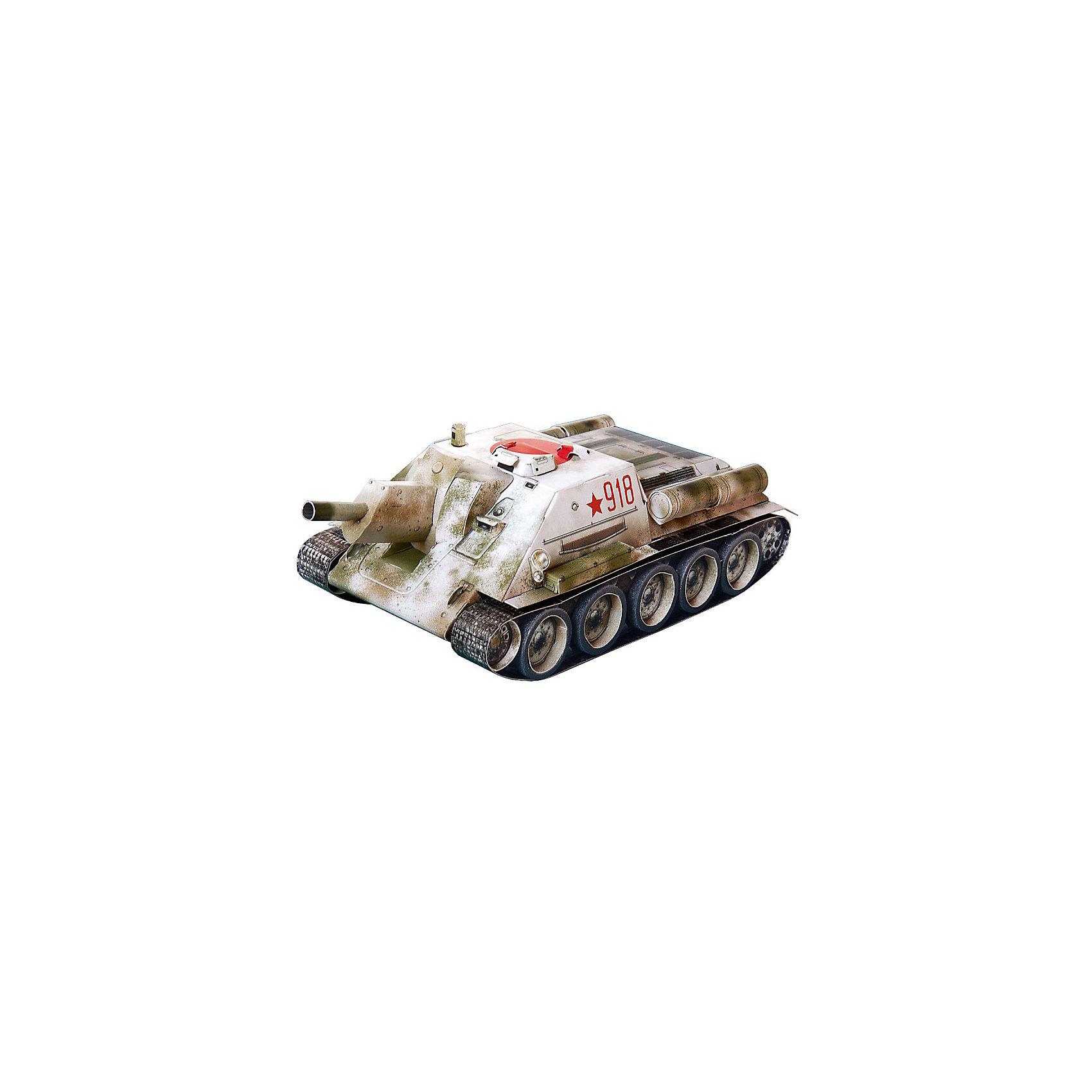 Сборная модель Самоходная артиллерийская установка СУ-122Самоходная артиллерийская установка СУ-122 - это первая серийная самоходка Красной Армии в годы Великой Отечественной Войны. Из 638 выпущенных машин до настоящего времени сохранилась только одна. Сборная модель выполнена в масштабе 1:35. Высокая степень детализации и реалистичные детали делают сборку конструктора очень интересным занятием. Принцип соединения деталей запатентован: все соединения разработаны и рассчитаны с такой точностью, что с правильно собранной игрушкой можно играть, как с обычной. Конструирование увлекательный и полезный процесс, развивающий мелкую моторику, внимание, усидчивость, пространственное мышление и фантазию. <br>Все сборные модели «Умная Бумага» разрабатываются на основе чертежей и фотографий оригинала. В их оформлении широко используются современные способы обработки бумаги для передачи рельефности поверхности, а для имитации хромированных и золоченых элементов применяется тиснение фольгой.<br><br>Дополнительная информация:<br><br>- Материал: картон.<br>- Масштаб: 1:35.<br>- Размер модели: 20х9х6 см.<br>- Размер упаковки: 22х34 см.<br>- 68 деталей.<br><br>Сборную модель Самоходная артиллерийская установка СУ-122 можно купить в нашем магазине.<br><br>Ширина мм: 214<br>Глубина мм: 337<br>Высота мм: 4<br>Вес г: 140<br>Возраст от месяцев: 72<br>Возраст до месяцев: 168<br>Пол: Мужской<br>Возраст: Детский<br>SKU: 4697731