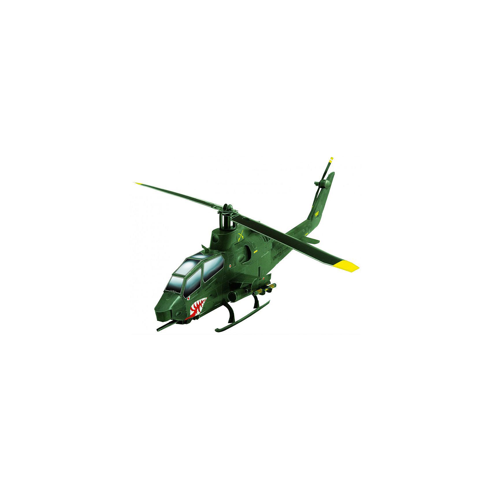 Сборная модель Вертолет КобраСборная бумажная модель Вертолет Кобра – многоцелевой ударный вертолет, предназначенный для огневой поддержки сухопутных войск и борьбы с бронетехникой. Высокая степень детализации и реалистичные детали делают сборку конструктора очень интересным занятием. Принцип соединения деталей запатентован: все соединения разработаны и рассчитаны с такой точностью, что с правильно собранной игрушкой можно играть, как с обычной. Конструирование увлекательный и полезный процесс, развивающий мелкую моторику, внимание, усидчивость, пространственное мышление и фантазию.<br>Все сборные модели «Умная Бумага» разрабатываются на основе чертежей и фотографий оригинала. В их оформлении широко используются современные способы обработки бумаги для передачи рельефности поверхности, а для имитации хромированных и золоченых элементов применяется тиснение фольгой.<br><br>Дополнительная информация:<br><br>- Материал: картон.<br>- Масштаб: 1:48.<br>- Размер модели: 28х7,5х8 см.<br>- Размер упаковки: 22х24 см.<br>- Количество деталей: 43.<br><br>Сборную модель Вертолет Кобра можно купить в нашем магазине.<br><br>Ширина мм: 218<br>Глубина мм: 339<br>Высота мм: 2<br>Вес г: 110<br>Возраст от месяцев: 72<br>Возраст до месяцев: 168<br>Пол: Мужской<br>Возраст: Детский<br>SKU: 4697734