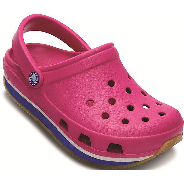 Сабо Kids Retro Clog CrocsПляжная обувь<br>Характеристики товара:<br><br>• цвет: розовый<br>• материал: 100% полимер Croslite™<br>• литая модель<br>• вентиляционные отверстия<br>• бактериостатичный материал<br>• пяточный ремешок фиксирует стопу<br>• толстая устойчивая подошва<br>• отверстия для использования украшений<br>• анатомическая стелька с массажными точками стимулирует кровообращение<br>• страна бренда: США<br>• страна изготовитель: Китай<br><br>Для правильного развития ребенка крайне важно, чтобы обувь была удобной. Такие сабо обеспечивают детям необходимый комфорт, а анатомическая стелька с массажными линиями для стимуляции кровообращения позволяет ножкам дольше не уставать. Сабо легко надеваются и снимаются, отлично сидят на ноге. Материал, из которого они сделаны, не дает размножаться бактериям, поэтому такая обувь препятствует образованию неприятного запаха и появлению болезней стоп. <br>Обувь от американского бренда Crocs в данный момент завоевала широкую популярность во всем мире, и это не удивительно - ведь она невероятно удобна. Её носят врачи, спортсмены, звёзды шоу-бизнеса, люди, которым много времени приходится бывать на ногах - они понимают, как важна комфортная обувь. Продукция Crocs - это качественные товары, созданные с применением новейших технологий. Обувь отличается стильным дизайном и продуманной конструкцией. Изделие производится из качественных и проверенных материалов, которые безопасны для детей.<br><br>Сабо от торговой марки Crocs можно купить в нашем интернет-магазине.<br>Ширина мм: 225; Глубина мм: 139; Высота мм: 112; Вес г: 290; Цвет: розовый; Возраст от месяцев: 60; Возраст до месяцев: 72; Пол: Унисекс; Возраст: Детский; Размер: 27/28,25/26,29/30,34/35,33/34,23/24,31/32; SKU: 4697761;