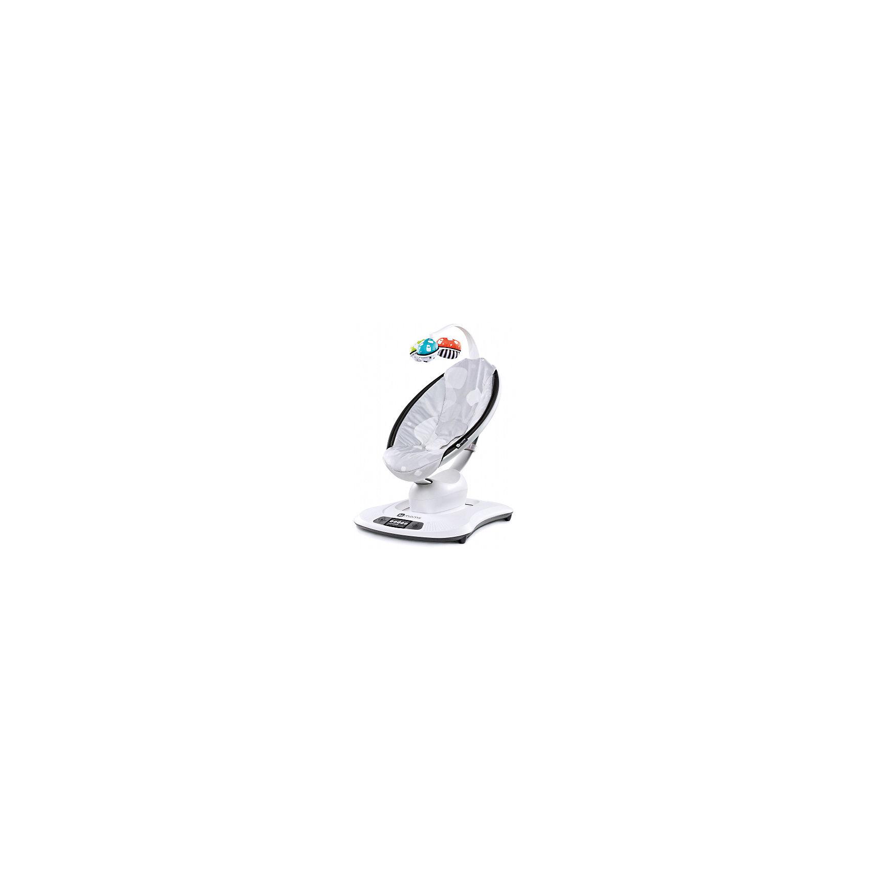 Кресло-качалка Mamaroo 3.0, 4Moms, серый плюшКресло-качалка Mamaroo - инновационное устройство, которое обязательно понравится и мамам, и малышам! Кресло имеет 5 режимов укачивания: повторяющих укачивание на родительских руках, имитирующих поездку в автомобиле, качели, волны и даже невысокие прыжки. Эргономичная люлька позволяет малышам принимать естественное положение, яркие игрушки развлекут кроху и не позволяет ему скучать. Кресло оснащено музыкальным блоком с приятными успокаивающими звуками природы. Управляется кресло - качалка двумя способами: с помощью панели на передней части у основания или же удаленно, посредством своего смартфона или планшета (в этом случае вам потребуется установить на своем гаджете специальное приложение).<br><br>Дополнительная информация:<br><br>- Материал: пластик, металл, текстиль.<br>- Размер упаковки: 56х67х24 см.<br>- Максимальный вес ребенка: 11 кг.<br>- Простое управление (с панели на кресле или же смартфона).<br>- Устойчивая конструкция.<br>- Безопасность (функция автоматической блокировки работы в случае появления препятствий).<br>- Панель управления с ЖК-дисплеем.<br>- Эргономичное мягкое сиденье.<br>- 3 уровня наклона люльки.<br>- Поворотный мобиль с игрушками.<br>- Внутренний ремень безопасности.<br>- Возможность подключения MP3-плеера и смартфона<br>- Работает от сети.<br>- Съемный чехол на люльку (возможна деликатная стирка).<br><br>Кресло-качалку Mamaroo 3.0, 4Moms (Фомамс), серый плюш, можно купить в нашем магазине.<br><br>Ширина мм: 560<br>Глубина мм: 670<br>Высота мм: 240<br>Вес г: 10000<br>Возраст от месяцев: 0<br>Возраст до месяцев: 24<br>Пол: Унисекс<br>Возраст: Детский<br>SKU: 4697864