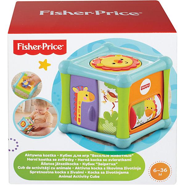 Кубик Веселые животные, Fisher-PriceКубики<br>Кубик Веселые животные, Fisher-Price (Фишер Прайс)<br><br>Кубик Веселые животные, Fisher-Price (Фишер Прайс) отлично подойдет детям дошкольного возраста. Кубик поможет надолго увлечь малышей. У него есть 5 пять граней с развивающими игрушками, а шестая – его основание. Детям понравится лев-пищалка, крутящийся барабан с обезьяной, и волшебные дверцы с жирафом. Такая игрушка помогает развить воображение, координацию движений и образное мышление, а также познавать мир. <br>Кубик Веселые животные изготовлен из высококачественных, легких и безопасных для детей материалов, детали окрашены яркими красителями, устойчивыми к выгоранию и истиранию. <br><br>Дополнительная информация:<br><br>цвет: разноцветный;<br>материал: пластик.<br><br>Кубик Веселые животные, Fisher-Price (Фишер Прайс) можно купить в нашем магазине.<br><br>Ширина мм: 125<br>Глубина мм: 165<br>Высота мм: 165<br>Вес г: 455<br>Возраст от месяцев: 6<br>Возраст до месяцев: 24<br>Пол: Унисекс<br>Возраст: Детский<br>SKU: 4697969