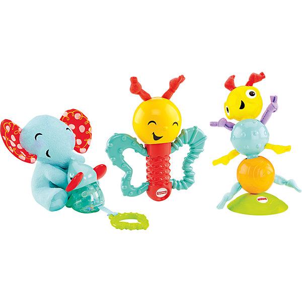 Игровой набор Веселые друзья, Fisher-PriceРазвивающие игрушки<br>Игровой набор Веселые друзья, Fisher-Price (Фишер Прайс)<br><br>Отличный набор для самых маленьких! Плюшевая мама-слониха с маленьким слоником, погремушка-прорезыватель в виде бабочки и  гусеница на присоске помогут надолго занять малыша. В них множество разных элементов, прорезывателей, вибрирующих деталей, которые помогут развивать мелкую моторику и любознательность.<br>У слонихи - шуршат уши, слоненок вибрирует, ушки - прорезыватели, листочек - прорезыватель, крылья бабочки можно грызть, если ее потрясти - издает звуки. Гусеница присасывается к поверхности. Сделан набор из безопасных для ребенка материалов. Работает на батарейках.<br><br>Дополнительная информация:<br><br>цвет: разноцветный,<br>комплектация: гусеничка на присоске, бабочка-погремушка, мама-слон с детенышем;<br>материал: пластик, текстиль, наполнитель;<br>размер бабочки: 12 см;<br>размер гусеницы: 15 см;<br>размер слона: 16 см.<br><br>Игровой набор Веселые друзья, Fisher-Price (Фишер Прайс) можно купить в нашем магазине.<br><br>Ширина мм: 110<br>Глубина мм: 355<br>Высота мм: 240<br>Вес г: 750<br>Возраст от месяцев: 3<br>Возраст до месяцев: 24<br>Пол: Унисекс<br>Возраст: Детский<br>SKU: 4697987
