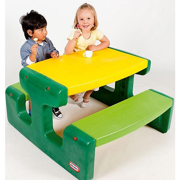 Большой стол для пикника, Little TikesДомики и мебель<br>Большой стол для пикника, Little Tikes (Литтл Тайкс) отлично пригодится для различных детских игр на природе или в доме. Он выполнен в ярких зелено-желтых тонах –  такой столик будет прекрасно смотреться на любой лужайке или в интерьере. Две широкие скамеечки расположены друг напротив друга, с обеих сторон стола, и рассчитаны на 4 человек. Столик не имеет острых углов, которые могут травмировать ребенка; с легкостью собирается и разбирается, в сложенном состоянии занимает мало места.  Конструкция прочно скрепляется, что оберегает от случайных падений скамеек и столешницы.  Большой стол для пикника прекрасно подойдет для детских игр на воздухе в летний период!  <br><br>Дополнительная информация:<br><br>-Размер столика: 93х100х55 см.<br>-Размеры в сложенном виде: 94х54х34 см. <br>-Вес в упаковке: 10,9 кг <br>-Материал: пластик <br><br>Большой стол для пикника, Little Tikes (Литтл Тайкс) можно купить в нашем магазине.<br><br>Ширина мм: 960<br>Глубина мм: 345<br>Высота мм: 545<br>Вес г: 10800<br>Возраст от месяцев: 24<br>Возраст до месяцев: 120<br>Пол: Унисекс<br>Возраст: Детский<br>SKU: 4698048