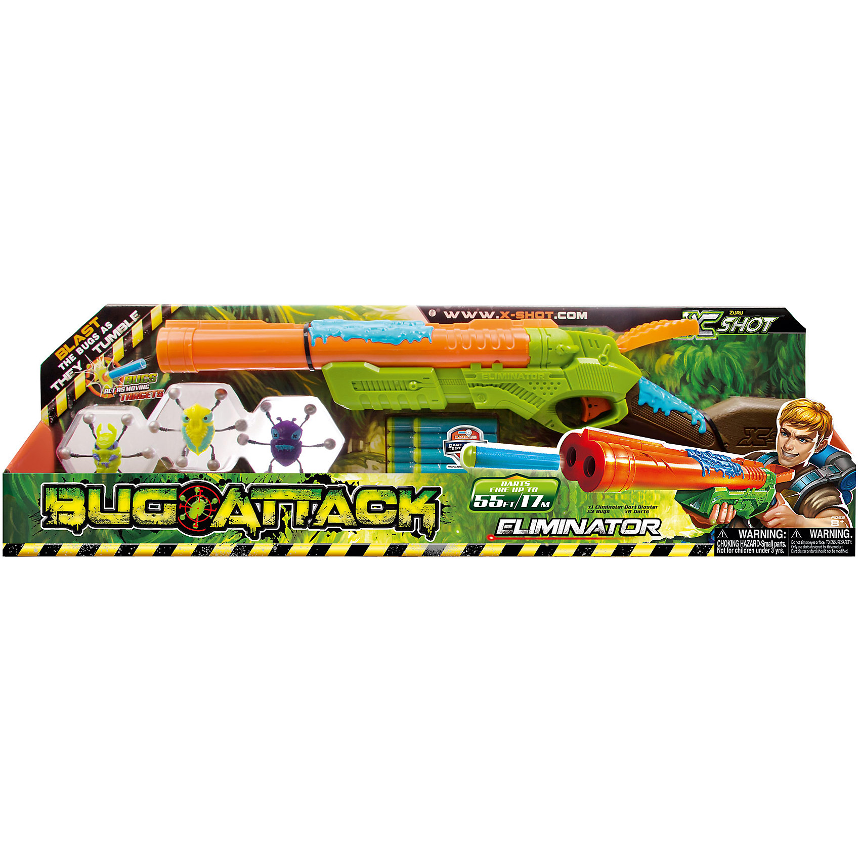 Ружье с мишенями Атака Пауков, X-Shot, ZuruБластеры, пистолеты и прочее<br>Характеристики товара:<br><br>• возраст: от 8 лет<br>• материал: пластик, резина<br>• дальность действия: 17 метров<br>• в наборе: ружье, 8 патронов, 3 паука-мишени<br>• размер упаковки 67х21х7 см<br>• вес упаковки 580 г.<br>• страна бренда: Новая Зеландия<br>• страна производитель: Китай<br><br>Ружье с мишенями «Атака пауков» X-Shot Zuru — настоящее оружие для стрельбы по мишеням. Мишени выполнены в виде паучков, которых можно прикрепить к любой вертикальной поверхности. Как только пауки начнут двигаться, остается только хорошо прицелиться и стрелять по ним. Игрушка хорошо тренирует у детей внимательность, ловкость, меткость, учит концентрироваться и сосредотачиваться. <br><br>Ружье изготовлено из качественного пластика. Патроны выполнены из резины, они безопасны и не наносят травм.<br><br>Ружье с мишенями «Атака пауков» X-Shot Zuru можно приобрести в нашем интернет-магазине.<br><br>Ширина мм: 670<br>Глубина мм: 200<br>Высота мм: 70<br>Вес г: 680<br>Возраст от месяцев: 96<br>Возраст до месяцев: 144<br>Пол: Мужской<br>Возраст: Детский<br>SKU: 4700163