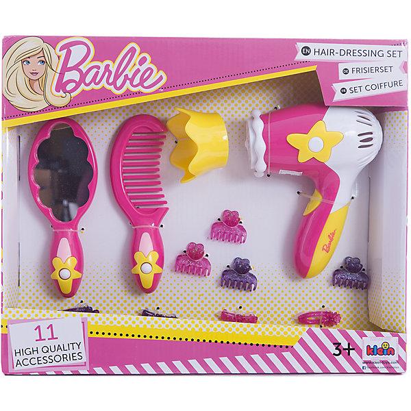 Игровой набор с феном Barbie, KleinНаборы парикмахера и стилиста<br>Игровой набор с феном Barbie, Klein (Кляйн) содержит всё, что потребуется начинающему парикмахеру. С этим набором девочка сможет создать удивительные прически для любимых кукол. Отлично подойдет для сюжетно-ролевых игр с подружками.<br><br>Дополнительная информация:<br>В комплекте: зеркало, расческа. фен, 4 заколки крабик, 4 заколки клик-клак<br>Размер упаковки: 30х25х6 см<br>Материал: пластик<br><br>Игровой набор с феном Barbie, Klein (Кляйн) вы можете приобрести в нашем интернет-магазине.<br><br>Ширина мм: 305<br>Глубина мм: 251<br>Высота мм: 66<br>Вес г: 354<br>Возраст от месяцев: 36<br>Возраст до месяцев: 72<br>Пол: Женский<br>Возраст: Детский<br>SKU: 4700561