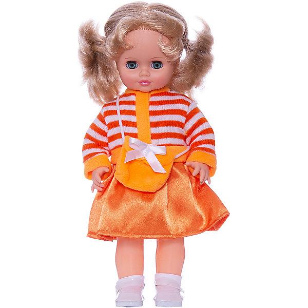 Кукла Инна 19, со звуком, 43 см, ВеснаКуклы<br>Красивая кукла от отечественного производителя способна не просто помочь ребенку весело проводить время, но и научить девочку одеваться со вкусом. На ней - модный костюм, всё можно снимать и надевать.<br>Кукла произносит несколько фраз, механизм работает от батареек. Очень красиво смотрятся пышные волосы, на которых можно делать прически. Сделана игрушка из качественных и безопасных для ребенка материалов. Такая кукла поможет ребенку освоить механизмы социальных взаимодействий, развить моторику и воображение. Также куклы помогают девочкам научиться заботиться о других.<br><br>Дополнительная информация:<br><br>- материал: пластмасса;<br>- волосы: прошивные;<br>- открывающиеся глаза;<br>- звуковой модуль;<br>- снимающаяся одежда и обувь;<br>- высота: 43 см.<br><br>Комплектация:<br><br>- одежда;<br>- три батарейки СЦ 357.<br><br>Куклу Инна 19, со звуком, от марки Весна можно купить в нашем магазине.<br><br>Ширина мм: 210<br>Глубина мм: 130<br>Высота мм: 430<br>Вес г: 550<br>Возраст от месяцев: 36<br>Возраст до месяцев: 1188<br>Пол: Женский<br>Возраст: Детский<br>SKU: 4701834