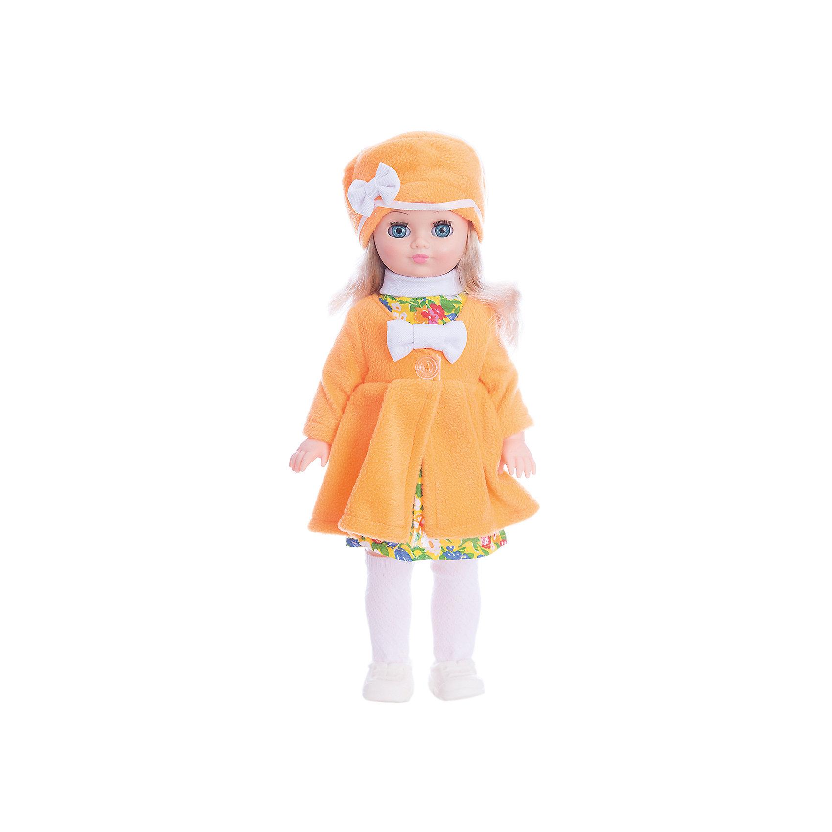 Кукла Лиза 20, со звуком, ВеснаКлассические куклы<br>Большая очень красивая кукла от отечественного производителя способна не просто помочь ребенку весело проводить время, но и научить девочку одеваться со вкусом. На ней - модный костюм, всё можно снимать и надевать.<br>Кукла произносит несколько фраз, механизм работает от батареек. Очень красиво смотрятся пышные волосы, на которых можно делать прически. Сделана игрушка из качественных и безопасных для ребенка материалов. Такая кукла поможет ребенку освоить механизмы социальных взаимодействий, развить моторику и воображение. Также куклы помогают девочкам научиться заботиться о других.<br><br>Дополнительная информация:<br><br>- материал: пластмасса;<br>- волосы: прошивные;<br>- открывающиеся глаза;<br>- звуковой модуль;<br>- снимающаяся одежда и обувь;<br>- высота: 42 см.<br><br>Комплектация:<br><br>- одежда;<br>- три батарейки СЦ 357.<br><br>Куклу Инна 19, со звуком, от марки Весна можно купить в нашем магазине.<br><br>Ширина мм: 420<br>Глубина мм: 240<br>Высота мм: 440<br>Вес г: 750<br>Возраст от месяцев: 36<br>Возраст до месяцев: 1188<br>Пол: Женский<br>Возраст: Детский<br>SKU: 4701835
