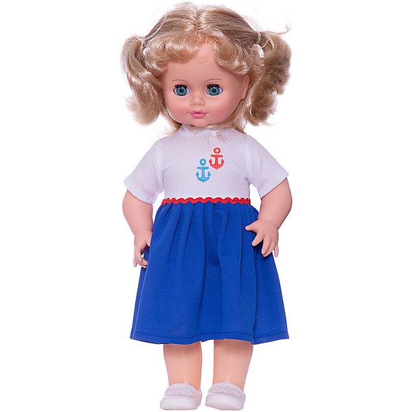 Кукла Инна 28, со звуком, ВеснаБренды кукол<br>Большая очень красивая кукла от отечественного производителя способна не просто помочь ребенку весело проводить время, но и научить девочку одеваться со вкусом. На ней - модный костюм в морском стиле, всё можно снимать и надевать.<br>Кукла произносит несколько фраз, механизм работает от батареек. Очень красиво смотрятся пышные волосы, на которых можно делать прически. Сделана игрушка из качественных и безопасных для ребенка материалов. Такая кукла поможет ребенку освоить механизмы социальных взаимодействий, развить моторику и воображение. Также куклы помогают девочкам научиться заботиться о других.<br><br>Дополнительная информация:<br><br>- материал: пластмасса;<br>- волосы: прошивные;<br>- открывающиеся глаза;<br>- звуковой модуль;<br>- снимающаяся одежда и обувь;<br>- высота: 43 см.<br><br>Комплектация:<br><br>- одежда;<br>- три батарейки СЦ 357.<br><br>Куклу Инна 28, со звуком, от марки Весна можно купить в нашем магазине.<br><br>Ширина мм: 490<br>Глубина мм: 210<br>Высота мм: 130<br>Вес г: 550<br>Возраст от месяцев: 36<br>Возраст до месяцев: 1188<br>Пол: Женский<br>Возраст: Детский<br>SKU: 4701838