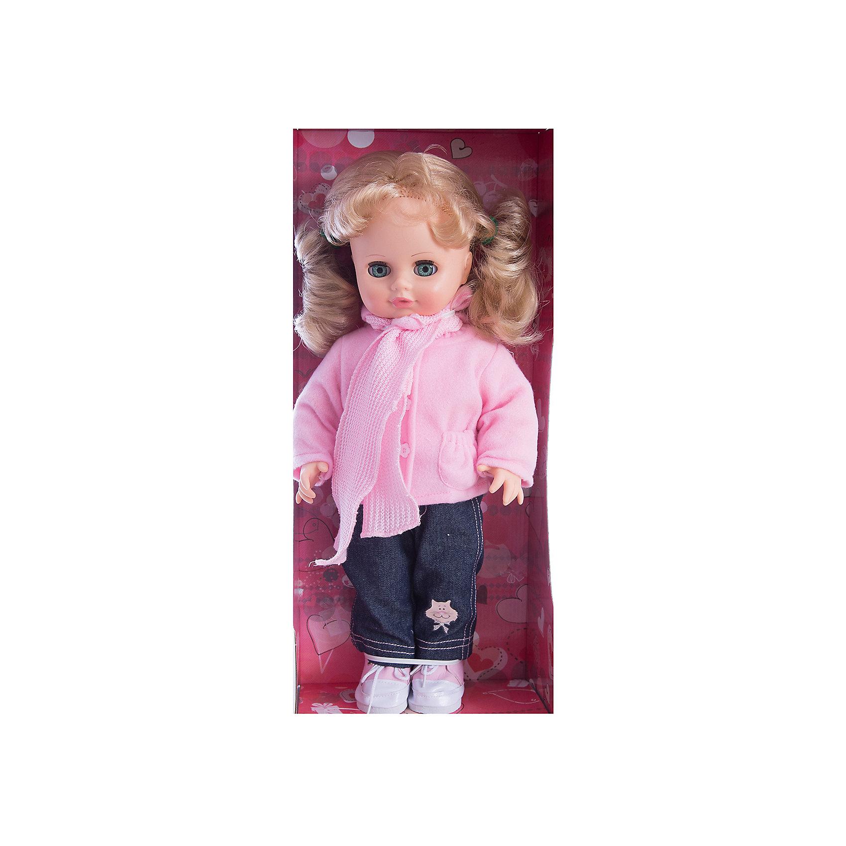 Кукла Инна 38, со звуком, ВеснаИнтерактивные куклы<br>Модно одетая красивая кукла от отечественного производителя способна не просто помочь ребенку весело проводить время, но и научить девочку одеваться со вкусом. На ней - модный костюм, всё можно снимать и надевать.<br>Кукла произносит несколько фраз, механизм работает от батареек. Очень красиво смотрятся пышные волосы, на которых можно делать прически. Сделана игрушка из качественных и безопасных для ребенка материалов. Такая кукла поможет ребенку освоить механизмы социальных взаимодействий, развить моторику и воображение. Также куклы помогают девочкам научиться заботиться о других.<br><br>Дополнительная информация:<br><br>- материал: пластмасса;<br>- волосы: прошивные;<br>- открывающиеся глаза;<br>- звуковой модуль;<br>- снимающаяся одежда и обувь;<br>- высота: 43 см.<br><br>Комплектация:<br><br>- одежда;<br>- три батарейки СЦ 357.<br><br>Куклу Инна 38, со звуком, от марки Весна можно купить в нашем магазине.<br><br>Ширина мм: 210<br>Глубина мм: 130<br>Высота мм: 430<br>Вес г: 550<br>Возраст от месяцев: 36<br>Возраст до месяцев: 1188<br>Пол: Женский<br>Возраст: Детский<br>SKU: 4701841