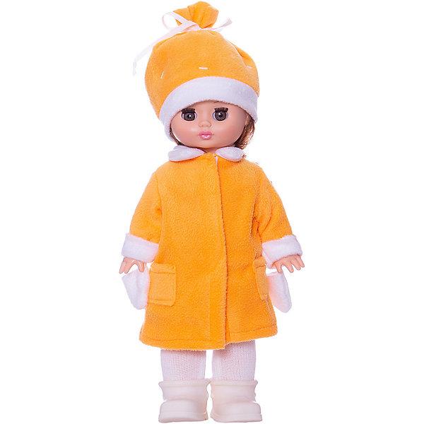 Кукла Жанна 5, со звуком, 38 см, ВеснаКуклы<br>Красивая кукла от отечественного производителя способна не просто помочь ребенку весело проводить время, но и научить девочку одеваться со вкусом. На ней - модная теплая одежда, шапочка, варежки, обувь, всё можно снимать и надевать.<br>Кукла произносит несколько фраз, механизм работает от батареек. Очень красиво смотрятся пышные волосы, на которых можно делать прически. Сделана игрушка из качественных и безопасных для ребенка материалов. Такая кукла поможет ребенку освоить механизмы социальных взаимодействий, развить моторику и воображение. Также куклы помогают девочкам научиться заботиться о других.<br><br>Дополнительная информация:<br><br>- материал: пластмасса;<br>- волосы: прошивные;<br>- открывающиеся глаза;<br>- звуковой модуль;<br>- снимающаяся одежда и обувь;<br>- высота: 38 см.<br><br>Комплектация:<br><br>- одежда;<br>- три батарейки СЦ 357.<br><br>Куклу Жанна 5, со звуком, от марки Весна можно купить в нашем магазине.<br>Ширина мм: 120; Глубина мм: 170; Высота мм: 380; Вес г: 500; Возраст от месяцев: 36; Возраст до месяцев: 1188; Пол: Женский; Возраст: Детский; SKU: 4701844;
