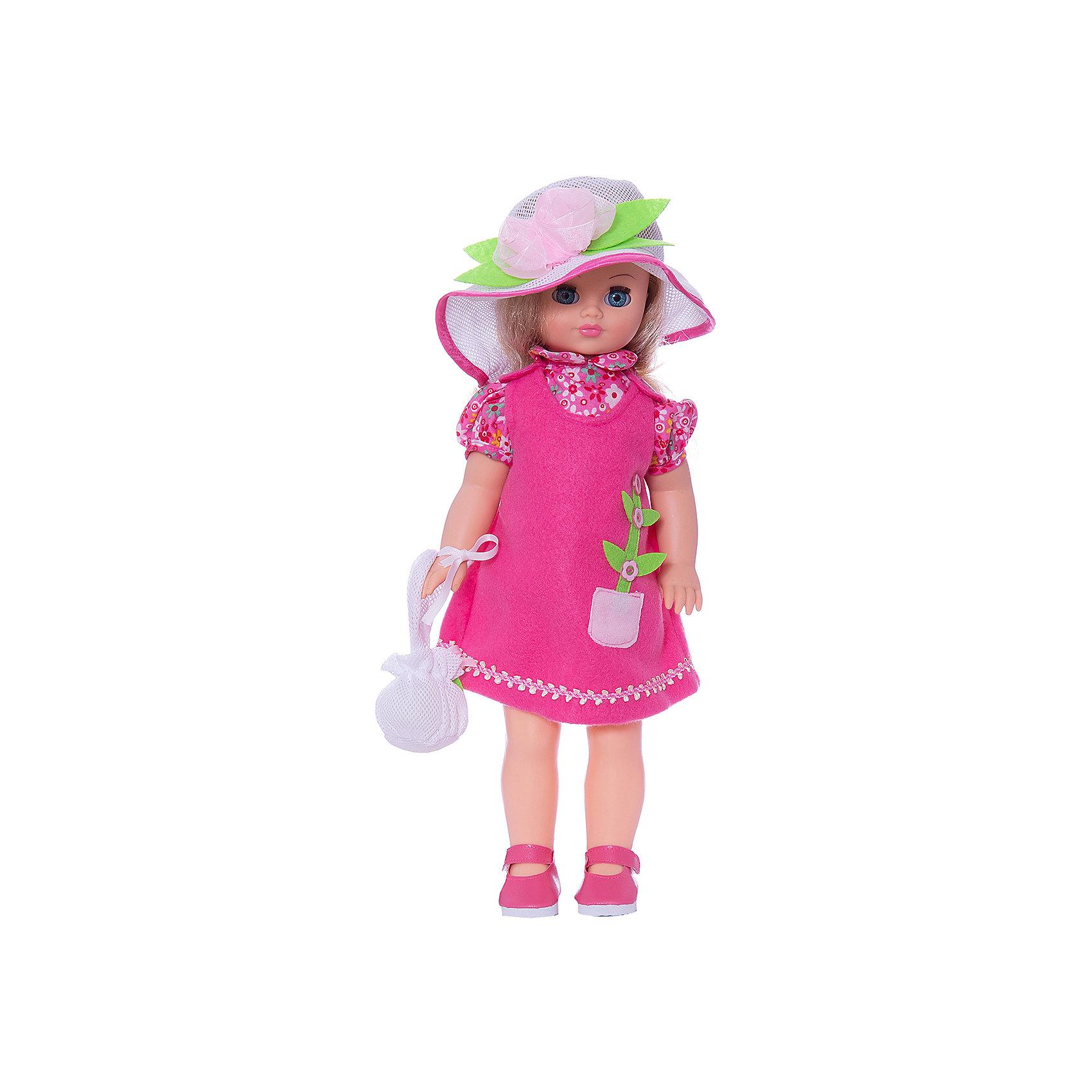 Кукла Лиза 12, со звуком, 42 см, ВеснаКуклы<br>Нарядная кукла от отечественного производителя способна не просто помочь ребенку весело проводить время, но и научить девочку одеваться со вкусом. На ней - красивый летний наряд со шляпой и сумочкой, обувь, всё можно снимать и надевать.<br>Кукла произносит несколько фраз, механизм работает от батареек. Очень красиво смотрятся пышные волосы, на которых можно делать прически. Сделана игрушка из качественных и безопасных для ребенка материалов. Такая кукла поможет ребенку освоить механизмы социальных взаимодействий, развить моторику и воображение. Также куклы помогают девочкам научиться заботиться о других.<br><br>Дополнительная информация:<br><br>- материал: пластмасса;<br>- волосы: прошивные;<br>- открывающиеся глаза;<br>- звуковой модуль;<br>- снимающаяся одежда и обувь;<br>- высота: 42 см.<br><br>Комплектация:<br><br>- одежда;<br>- три батарейки СЦ 357.<br><br>Куклу Лиза 12, со звуком, от марки Весна можно купить в нашем магазине.<br><br>Ширина мм: 120<br>Глубина мм: 170<br>Высота мм: 420<br>Вес г: 570<br>Возраст от месяцев: 36<br>Возраст до месяцев: 1188<br>Пол: Женский<br>Возраст: Детский<br>SKU: 4701845