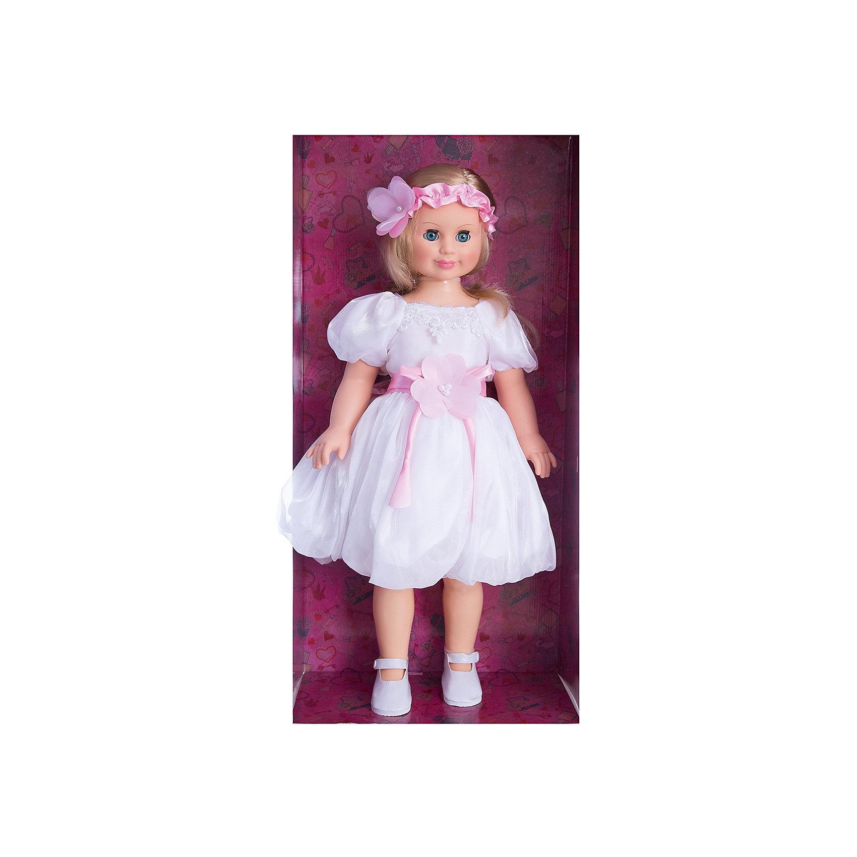 Кукла Милана 8, со звуком, 70 см, ВеснаИнтерактивные куклы<br>Большая очень красивая кукла от отечественного производителя способна не просто помочь ребенку весело проводить время, но и научить девочку одеваться со вкусом. На ней - нарядное платье и туфли, всё можно снимать и надевать.<br>Кукла произносит несколько фраз, механизм работает от батареек. Очень красиво смотрятся пышные волосы, на которых можно делать прически. Сделана игрушка из качественных и безопасных для ребенка материалов. Такая кукла поможет ребенку освоить механизмы социальных взаимодействий, развить моторику и воображение. Также куклы помогают девочкам научиться заботиться о других.<br><br>Дополнительная информация:<br><br>- материал: пластмасса;<br>- волосы: прошивные;<br>- открывающиеся глаза;<br>- звуковой модуль;<br>- снимающаяся одежда и обувь;<br>- высота: 70 см.<br><br>Комплектация:<br><br>- одежда;<br>- три батарейки СЦ 357.<br><br>Куклу Милана 8, со звуком, от марки Весна можно купить в нашем магазине.<br><br>Ширина мм: 700<br>Глубина мм: 340<br>Высота мм: 700<br>Вес г: 2080<br>Возраст от месяцев: 36<br>Возраст до месяцев: 1188<br>Пол: Женский<br>Возраст: Детский<br>SKU: 4701849