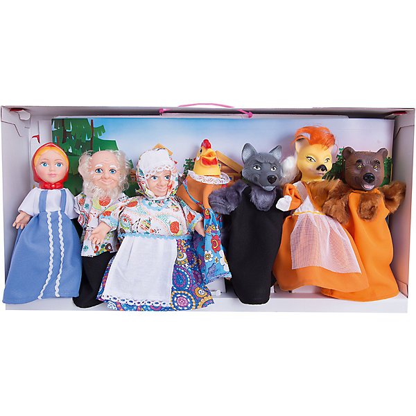 Набор Кукольный театр, 7 персонажей, ВеснаКукольный театр<br>Этот набор перчаточных кукол от отечественного производителя способен не просто помочь ребенку весело проводить время, но и научить его многим навыкам. Комплект состоит из семи кукол в виде самых популярных персонажей из русских сказок (Дед, Бабка, Аленушка, Волк, Лиса, Медведь, Курочка) с их помощью можно ставить как известные сказки так и придумывать свои!<br>Также в наборе есть реквизит для спектаклей: сцена, сменные декорации, сценарий и т.д. Сделаны игрушки из качественных и безопасных для ребенка материалов. Набор поможет ребенку тренировать моторику и координацию движений, а также будет  развивать воображение. <br><br>Дополнительная информация:<br><br>- материал: пластик, текстиль;<br>- комплектация: 7 фигур, реквизит, сцена, декорации, сценарий;<br>- цвет: разноцветный;<br>- упаковка: коробка.<br><br>Набор Кукольный театр, 7 персонажей, от марки Весна можно купить в нашем магазине.<br><br>Ширина мм: 380<br>Глубина мм: 120<br>Высота мм: 750<br>Вес г: 3100<br>Возраст от месяцев: 36<br>Возраст до месяцев: 1188<br>Пол: Женский<br>Возраст: Детский<br>SKU: 4701855