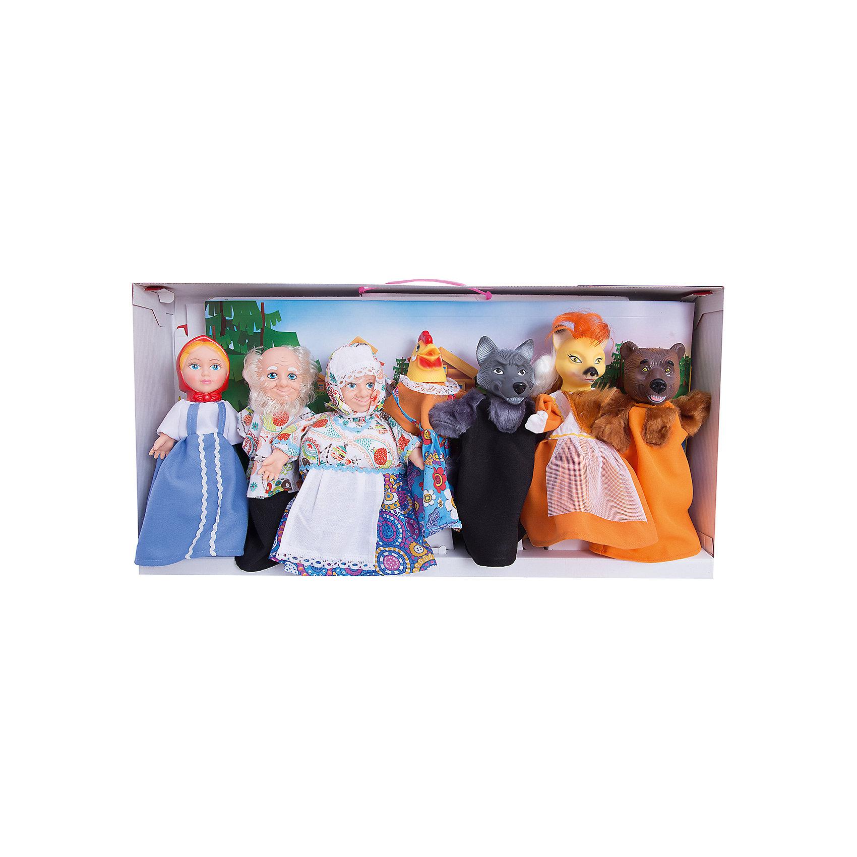 Набор Кукольный театр, 7 персонажей, ВеснаНаборы кукол<br>Этот набор перчаточных кукол от отечественного производителя способен не просто помочь ребенку весело проводить время, но и научить его многим навыкам. Комплект состоит из семи кукол в виде самых популярных персонажей из русских сказок (Дед, Бабка, Аленушка, Волк, Лиса, Медведь, Курочка) с их помощью можно ставить как известные сказки так и придумывать свои!<br>Также в наборе есть реквизит для спектаклей: сцена, сменные декорации, сценарий и т.д. Сделаны игрушки из качественных и безопасных для ребенка материалов. Набор поможет ребенку тренировать моторику и координацию движений, а также будет  развивать воображение. <br><br>Дополнительная информация:<br><br>- материал: пластик, текстиль;<br>- комплектация: 7 фигур, реквизит, сцена, декорации, сценарий;<br>- цвет: разноцветный;<br>- упаковка: коробка.<br><br>Набор Кукольный театр, 7 персонажей, от марки Весна можно купить в нашем магазине.<br><br>Ширина мм: 380<br>Глубина мм: 120<br>Высота мм: 750<br>Вес г: 3100<br>Возраст от месяцев: 36<br>Возраст до месяцев: 1188<br>Пол: Женский<br>Возраст: Детский<br>SKU: 4701855