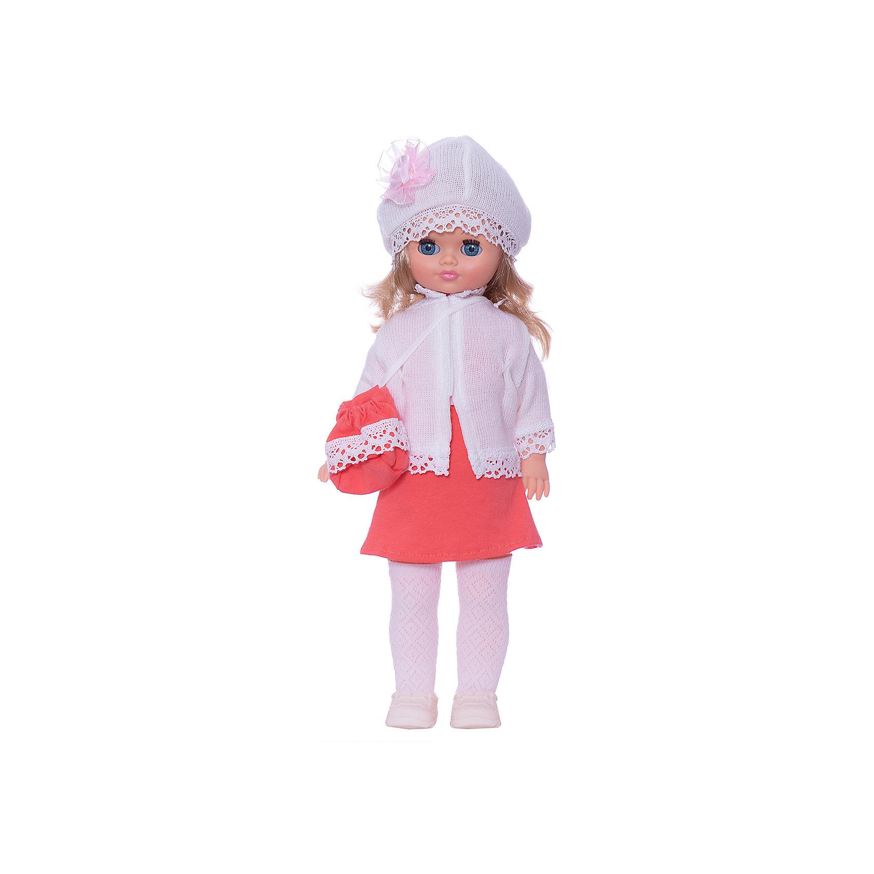 Кукла Лиза 22, со звуком, ВеснаИнтерактивные куклы<br>Красивая кукла от отечественного производителя способна не просто помочь ребенку весело проводить время, но и научить девочку одеваться со вкусом. На ней - красивый наряд с сумкой и шапочкой, обувь, всё можно снимать и надевать.<br>Кукла произносит несколько фраз, механизм работает от батареек. Очень красиво смотрятся пышные волосы, на которых можно делать прически. Сделана игрушка из качественных и безопасных для ребенка материалов. Такая кукла поможет ребенку освоить механизмы социальных взаимодействий, развить моторику и воображение. Также куклы помогают девочкам научиться заботиться о других.<br><br>Дополнительная информация:<br><br>- материал: пластмасса;<br>- волосы: прошивные;<br>- открывающиеся глаза;<br>- звуковой модуль;<br>- снимающаяся одежда и обувь;<br>- высота: 42 см.<br><br>Комплектация:<br><br>- одежда;<br>- три батарейки СЦ 357.<br><br>Куклу Лиза 22, со звуком, от марки Весна можно купить в нашем магазине.<br><br>Ширина мм: 420<br>Глубина мм: 240<br>Высота мм: 440<br>Вес г: 750<br>Возраст от месяцев: 36<br>Возраст до месяцев: 1188<br>Пол: Женский<br>Возраст: Детский<br>SKU: 4701857