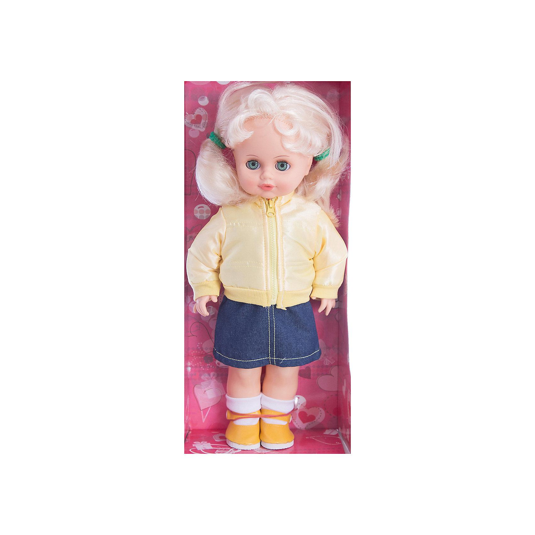 Кукла Инна 39, со звуком, 43 см, ВеснаМодно одетая красивая кукла от отечественного производителя способна не просто помочь ребенку весело проводить время, но и научить девочку одеваться со вкусом. На ней - модный костюм, всё можно снимать и надевать.<br>Кукла произносит несколько фраз, механизм работает от батареек. Очень красиво смотрятся пышные волосы, на которых можно делать прически. Сделана игрушка из качественных и безопасных для ребенка материалов. Такая кукла поможет ребенку освоить механизмы социальных взаимодействий, развить моторику и воображение. Также куклы помогают девочкам научиться заботиться о других.<br><br>Дополнительная информация:<br><br>- материал: пластмасса;<br>- волосы: прошивные;<br>- открывающиеся глаза;<br>- звуковой модуль;<br>- снимающаяся одежда и обувь;<br>- высота: 43 см.<br><br>Комплектация:<br><br>- одежда;<br>- три батарейки СЦ 357.<br><br>Куклу Инна 39, со звуком, от марки Весна можно купить в нашем магазине.<br><br>Ширина мм: 210<br>Глубина мм: 130<br>Высота мм: 430<br>Вес г: 550<br>Возраст от месяцев: 36<br>Возраст до месяцев: 1188<br>Пол: Женский<br>Возраст: Детский<br>SKU: 4701860